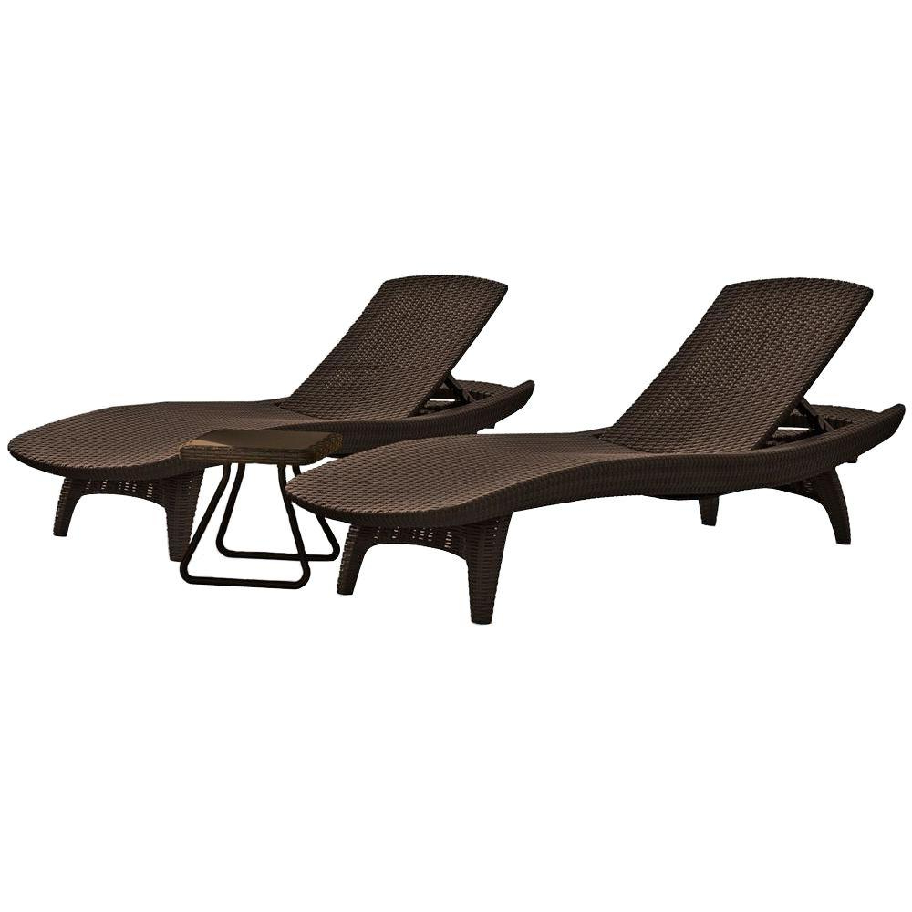 Wood Blue And White Cushion Outdoor Chaise Lounge Chairs With Popular Keter Pacific Whiskey Brown All Weather Adjustable Resin Patio Chaise  Lounger With Side Table (3 Piece Set) (View 23 of 25)