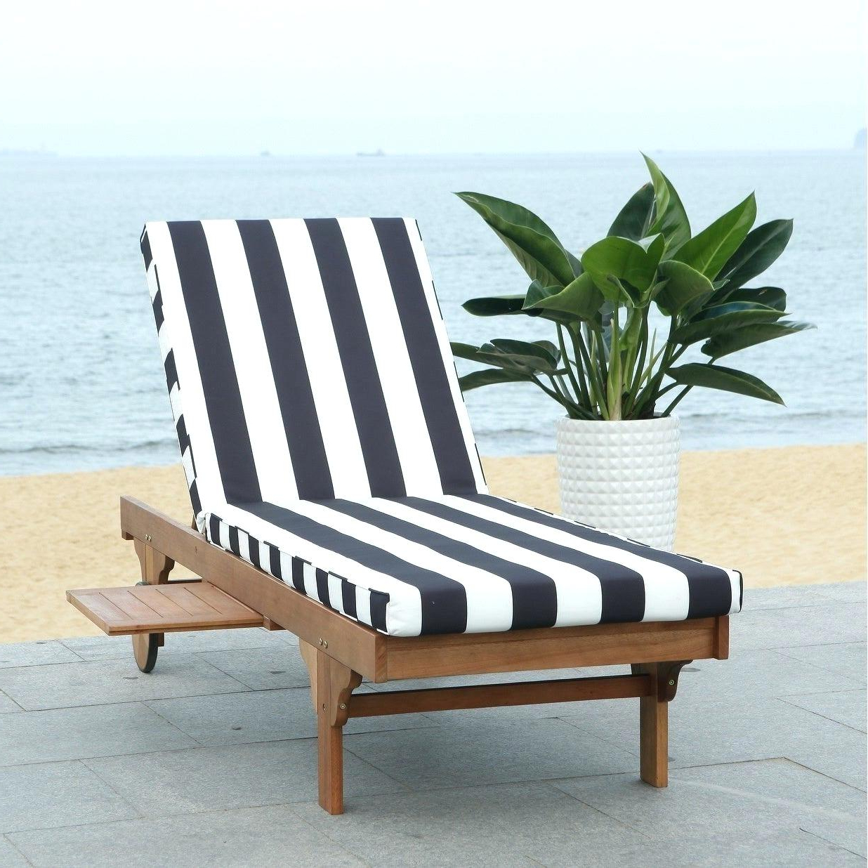 Wood Blue And White Cushion Outdoor Chaise Lounge Chairs Within Most Recently Released Wooden Chaise Lounge Chair Outdoor Plans Pool Chairs Out (View 24 of 25)