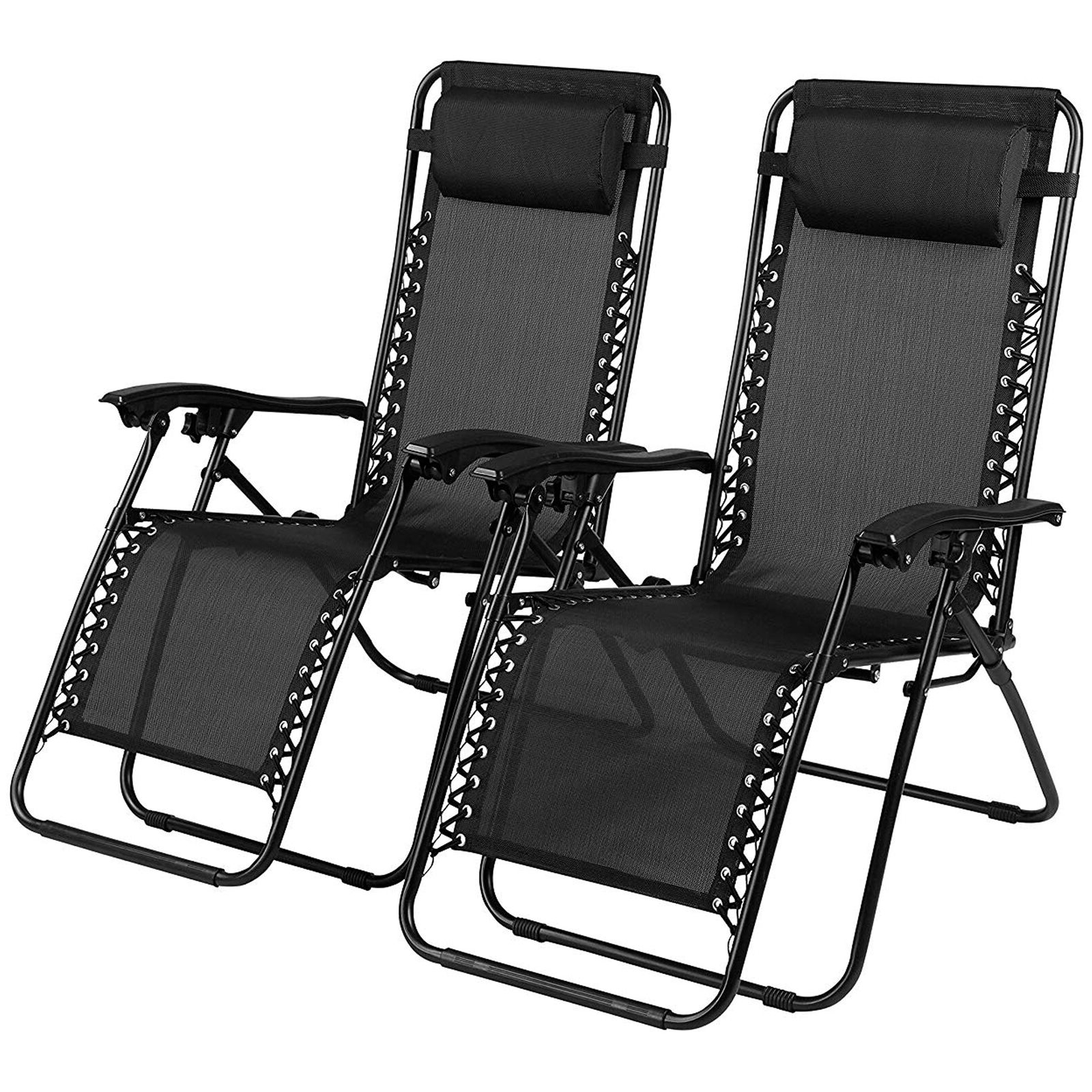 Zero Gravity Chair Sun Lounger Outdoor Garden Folding Reclining Adjustable  X 2 Throughout Favorite Deluxe Padded Chairs With Canopy And Tray (View 25 of 25)