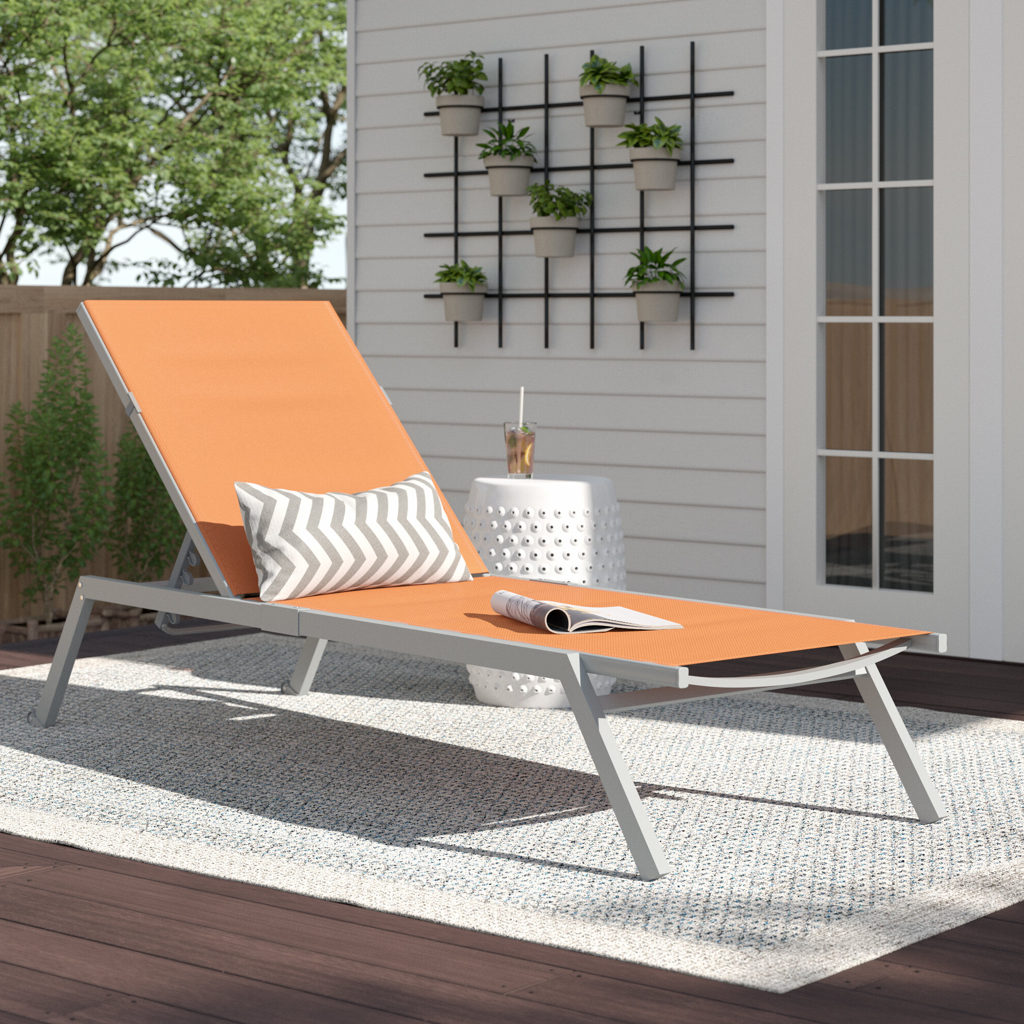 Zipcode Design Rondo Adjustable Sling Reclining Chaise Inside Most Popular Reclining Sling Chaise Lounges (View 25 of 25)