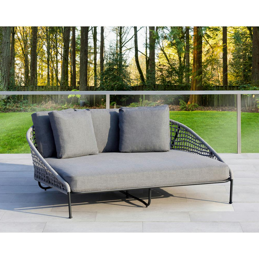 2019 Dowling Patio Daybeds With Cushion Inside Ove Decors Indiana Grey 1 Piece Metal Outdoor Day Bed With (Gallery 17 of 25)