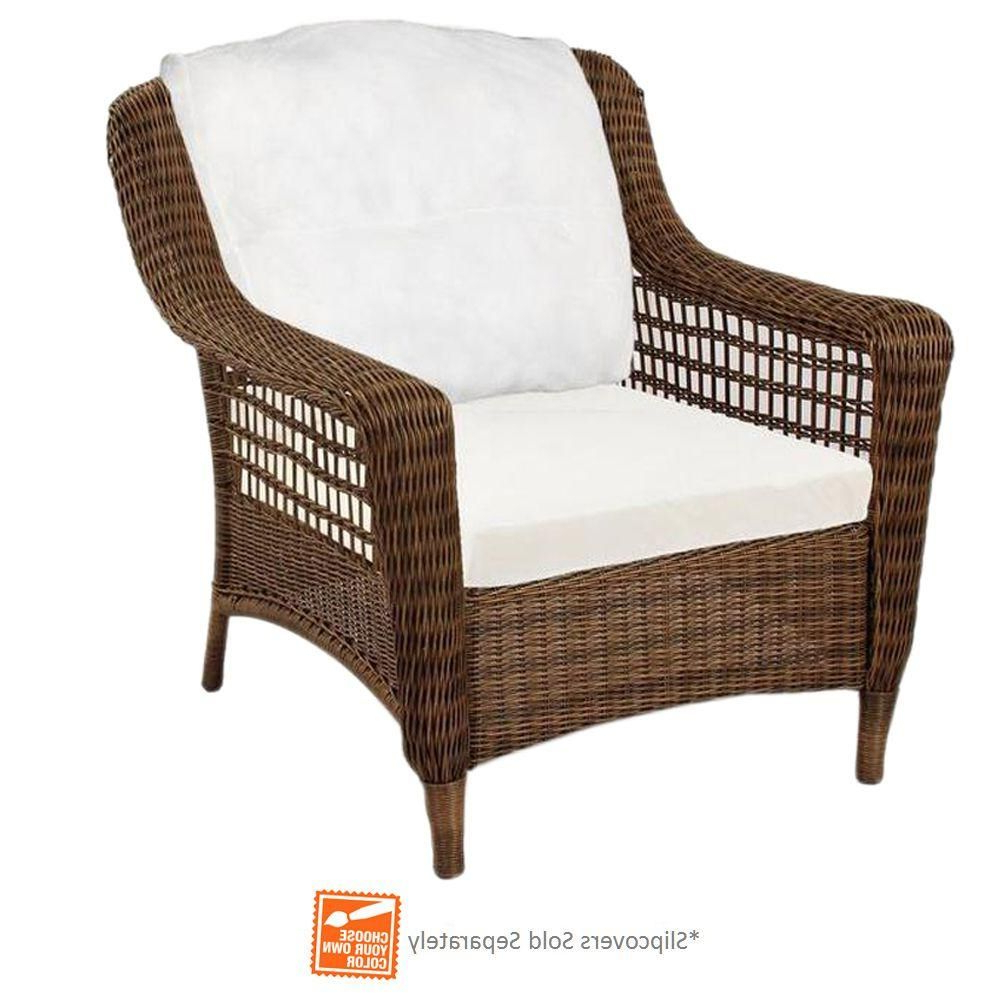 2019 Fannin Patio Sofas With Cushions With Regard To Hampton Bay Spring Haven Brown Wicker Patio Lounge Chair (Gallery 16 of 25)