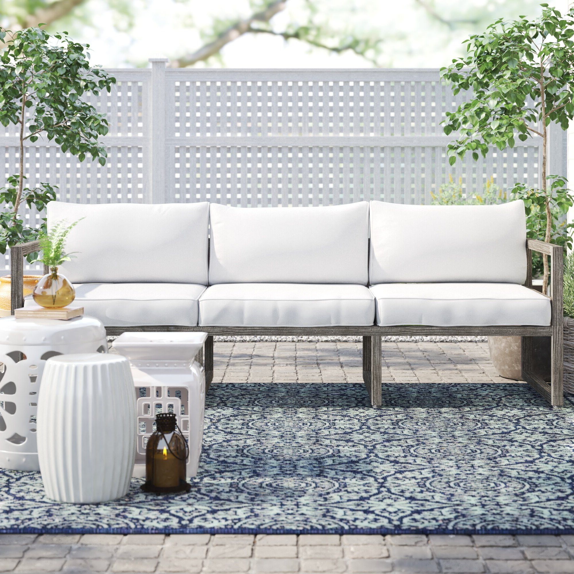 2019 Honeycutt Patio Sofas With Cushions Throughout Monaco Patio Sofa With Cushions (View 22 of 25)
