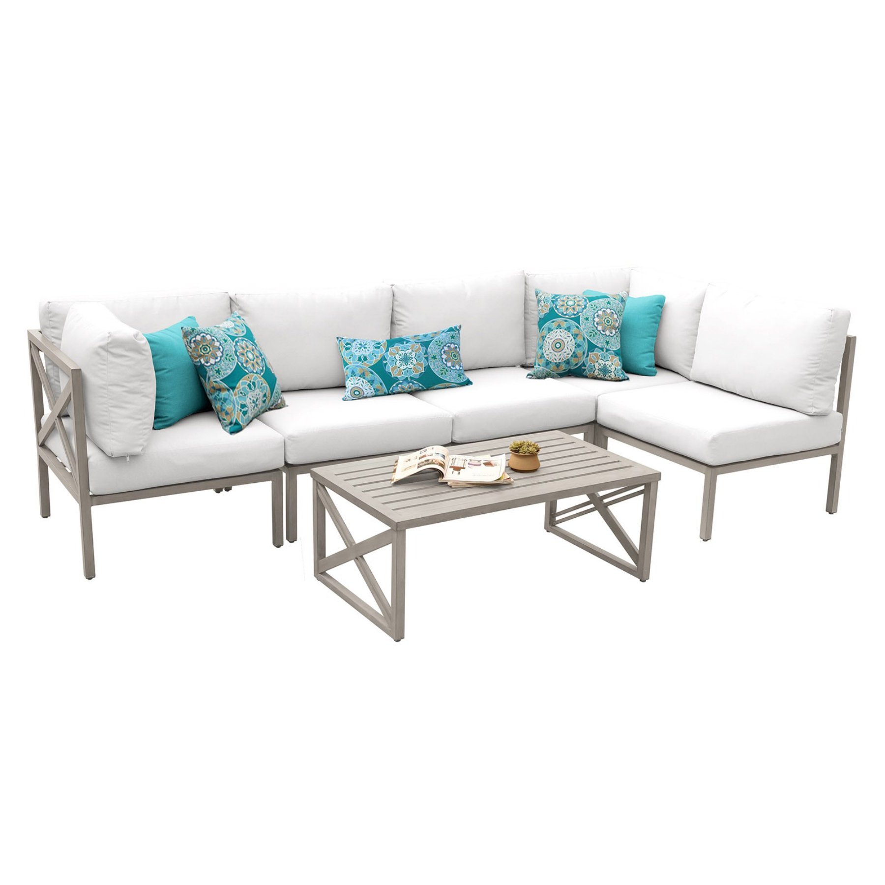 2019 Outdoor Tk Classics Carlisle Aluminum 6 Piece Sectional Pertaining To Carlisle Patio Sofas With Cushions (Gallery 2 of 25)