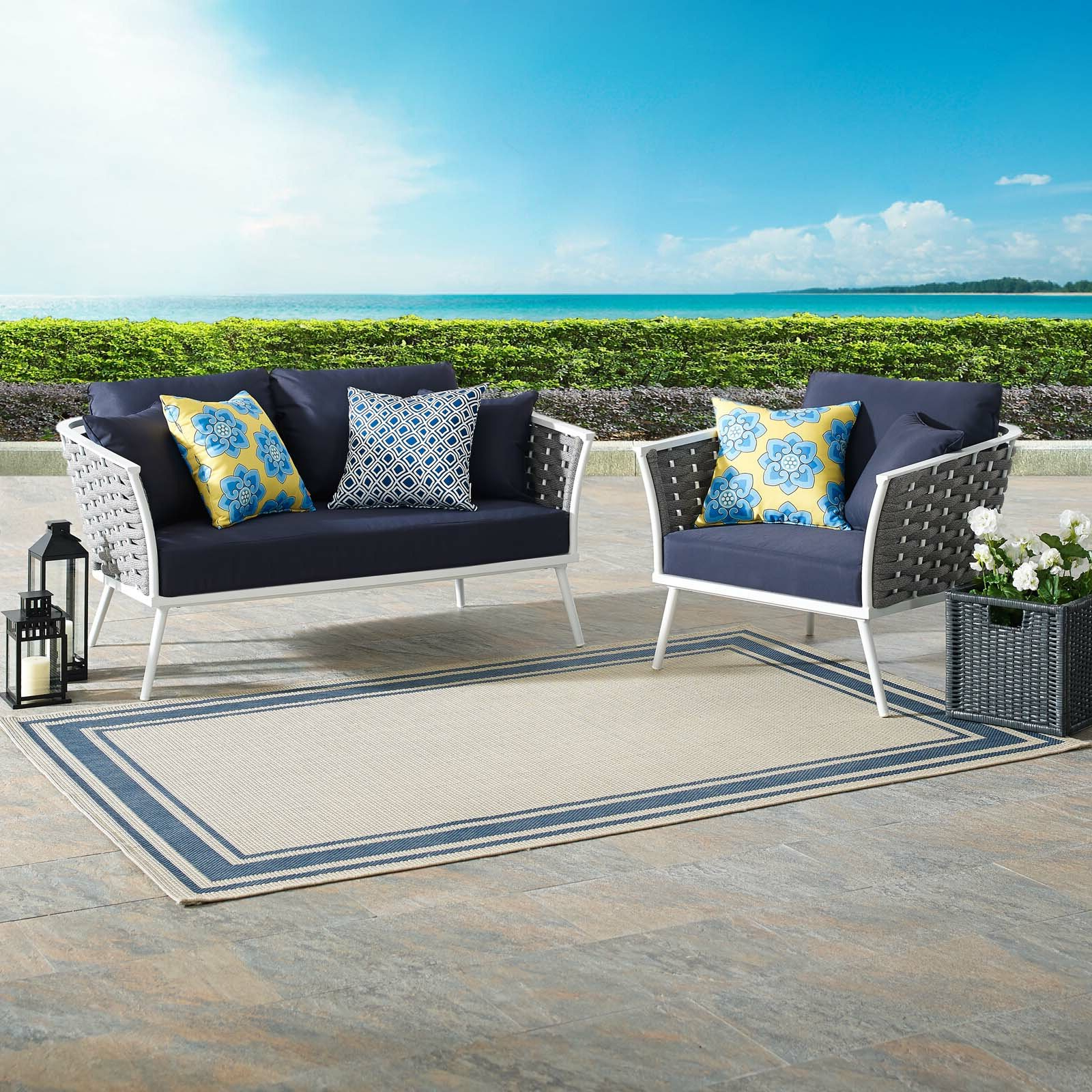 2019 Rossville Outdoor Patio Sofas With Cushions With Regard To Rossville 2 Piece Sofa Seating Group With Cushions (Gallery 7 of 25)
