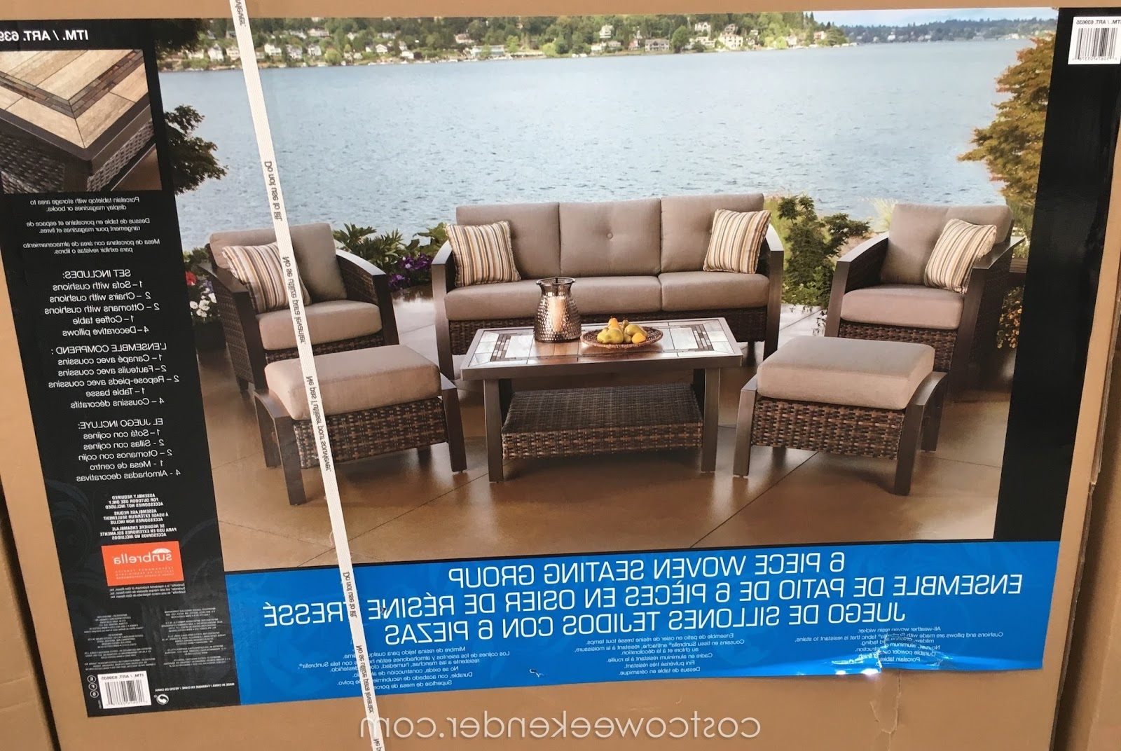 2020 Agio International 6 Piece Woven Deep Seating Group Set Pertaining To 4 Piece Sierra Sunbrella Seating Group (Gallery 20 of 25)