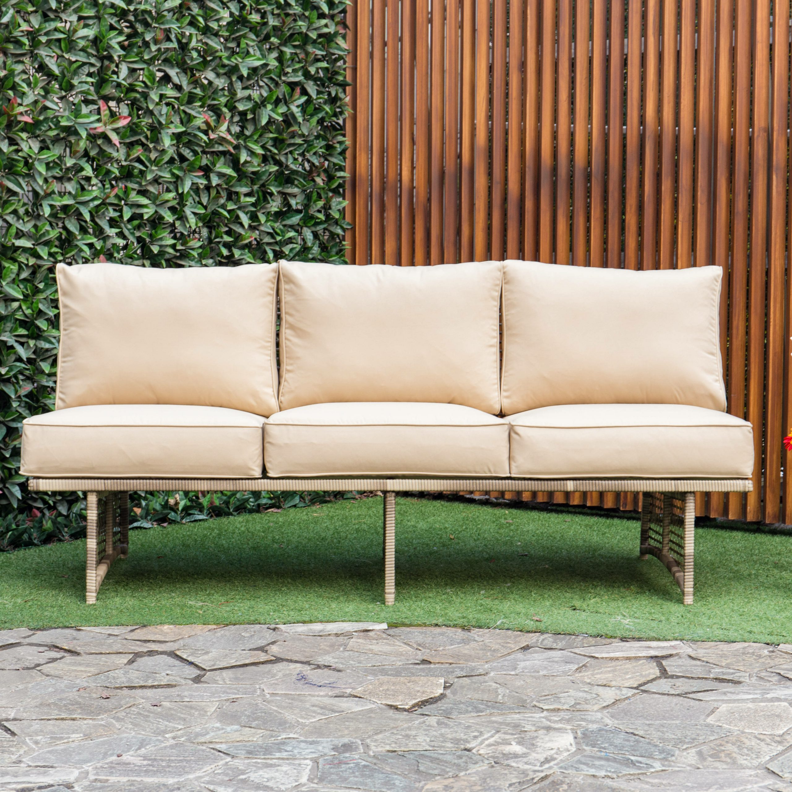 2020 Dakota Outdoor Rattan Patio Sofa With Cushions Regarding Rossville Outdoor Patio Sofas With Cushions (View 18 of 25)