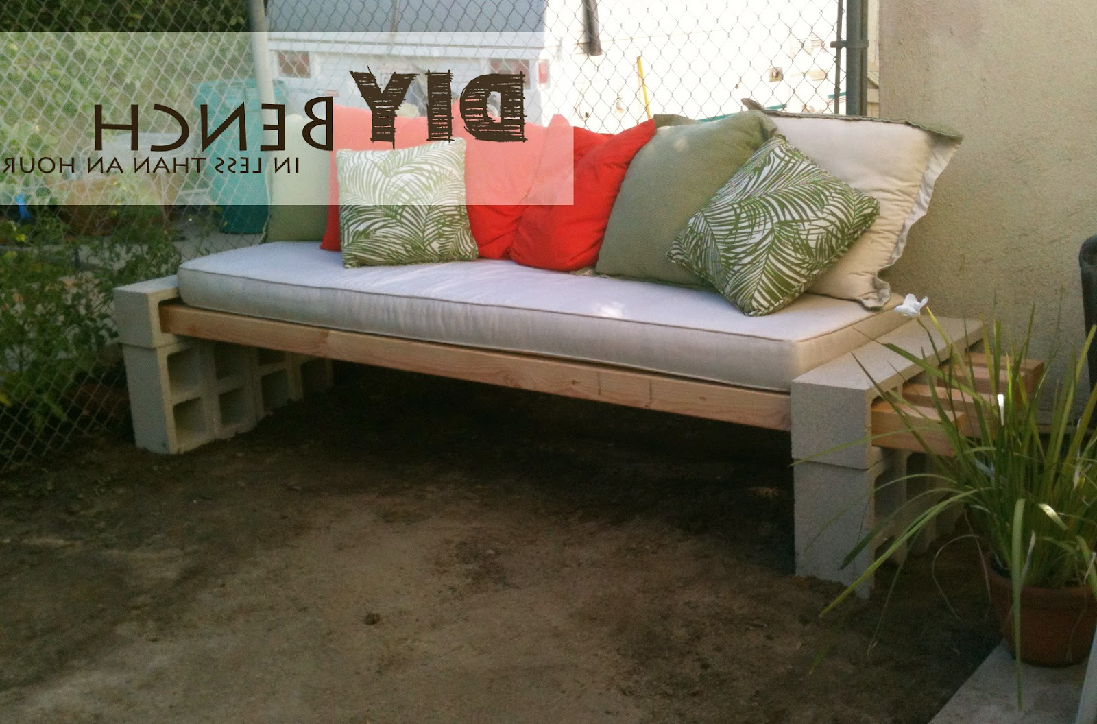2020 Dowling Patio Daybeds With Cushion Regarding The Basement: Diy Outdoor Bench – In Less Than An Hour (View 23 of 25)