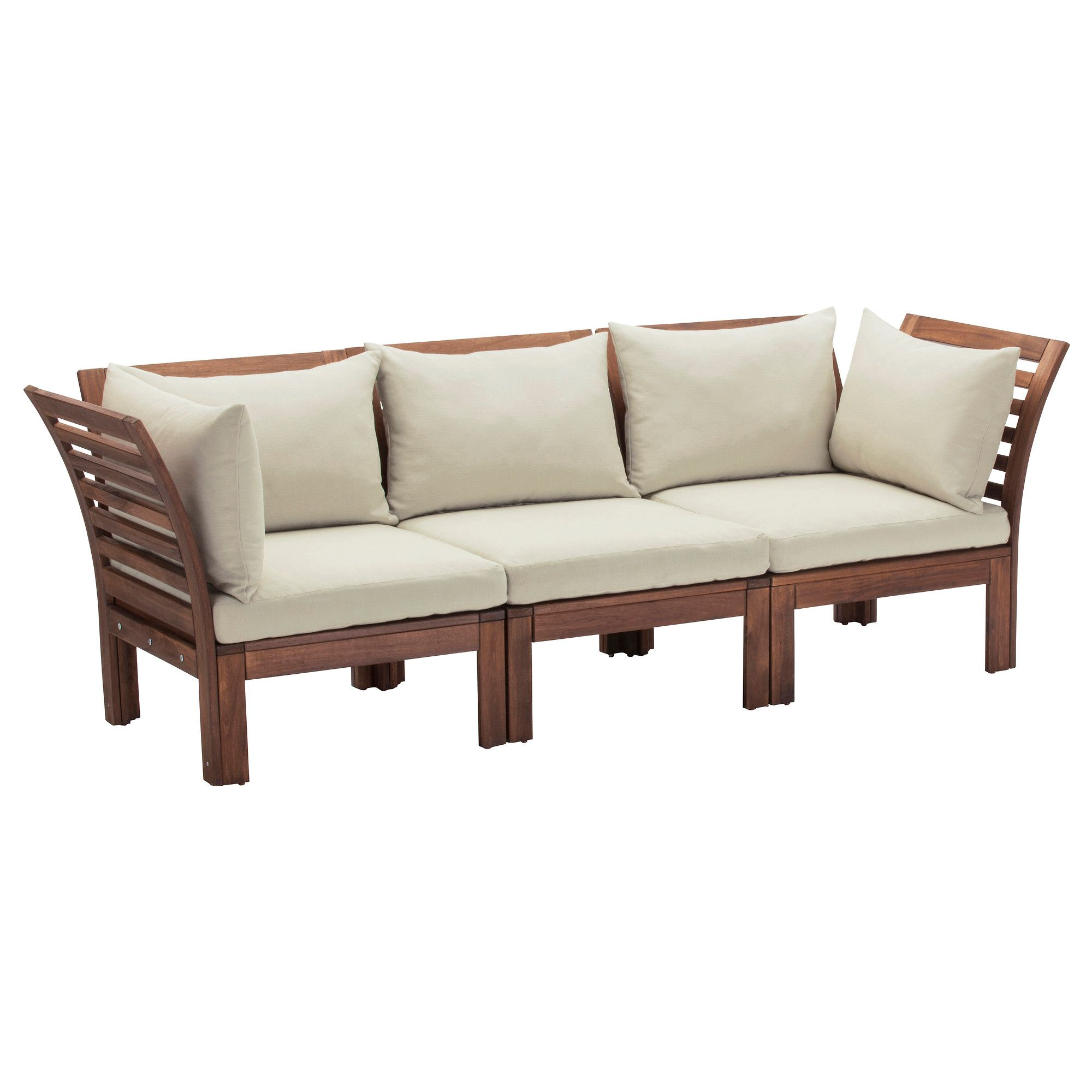 2020 Jamilla Teak Patio Sofas With Cushion In Äpplarö 3 Seat Modular Sofa, Outdoor – Brown Brown Stained (Gallery 12 of 25)