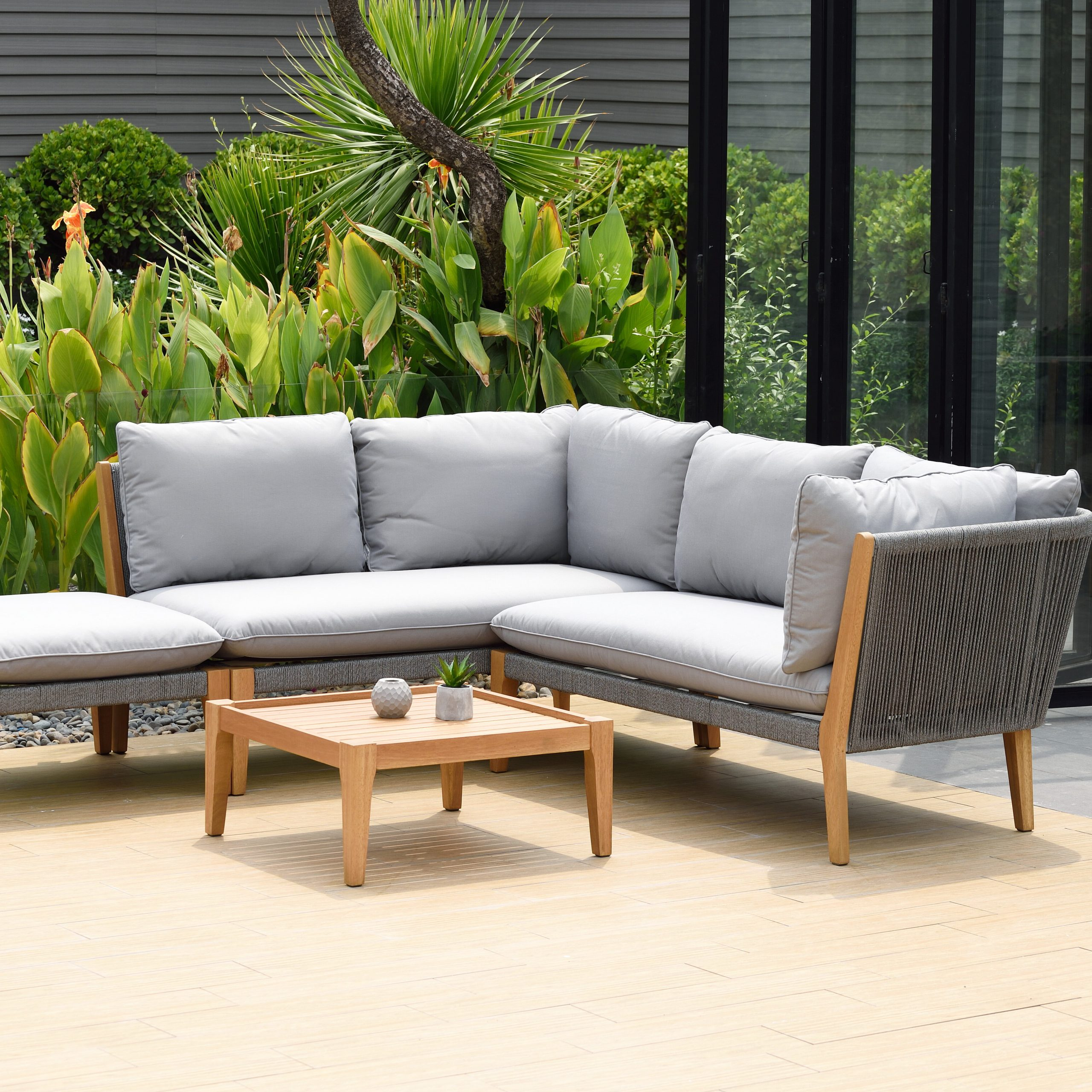 2020 Olinda 4 Piece Teak Sectionals Seating Group With Cushions Intended For Olinda 4 Piece Teak Sectional Seating Group With Cushions (View 5 of 25)