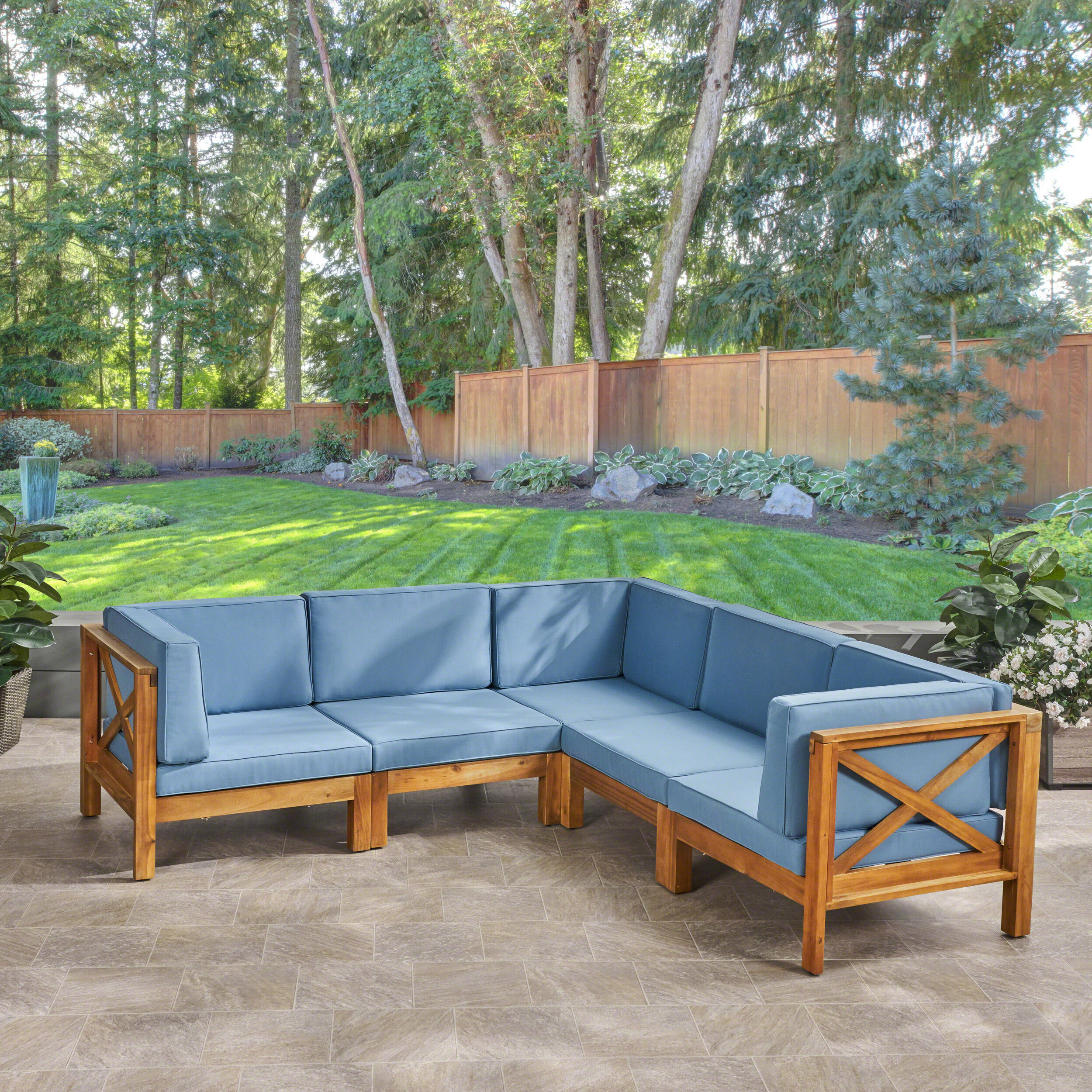 2020 Ostrowski Patio Sectionals With Cushions With Regard To Highland Dunes Ellison Patio Sectional With Cushions (View 3 of 25)