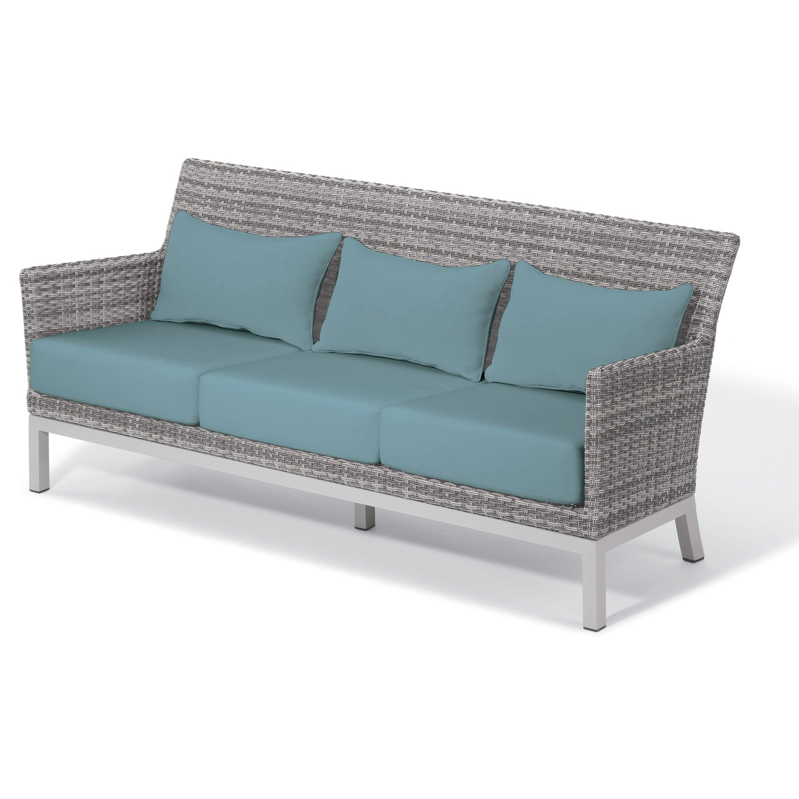 2020 Outdoor Oxford Garden Argento Resin Wicker Patio Sofa Ice Throughout Baca Patio Sofas With Cushions (View 1 of 25)