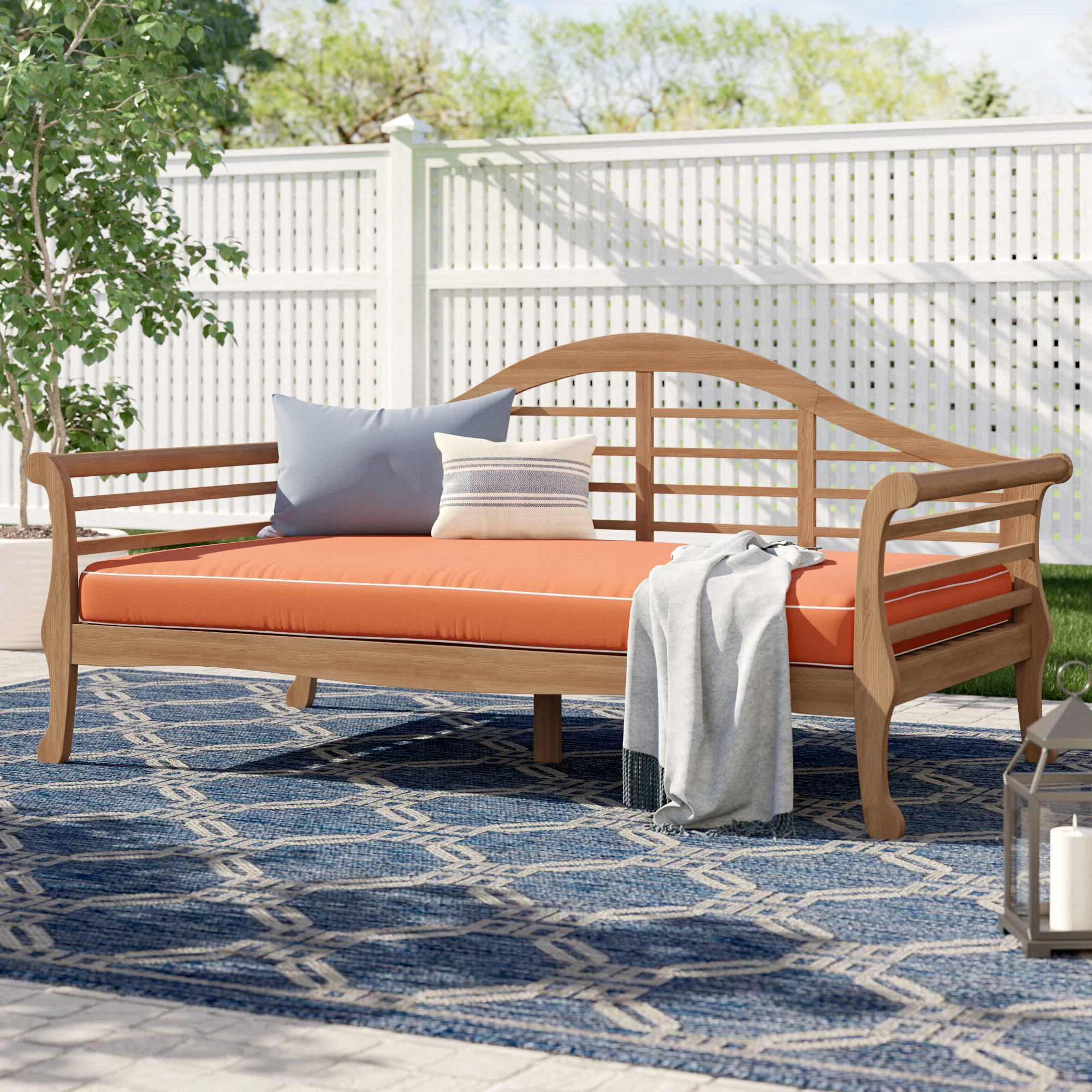 2020 Summerton Teak Patio Sofa With Cushions Pertaining To Bodine Patio Daybeds With Cushions (View 22 of 25)