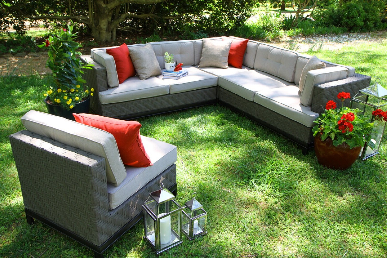 4 Piece Sierra Sunbrella Seating Group Throughout Favorite Jamarion 4 Piece Sectional With Sunbrella Cushions (View 4 of 25)