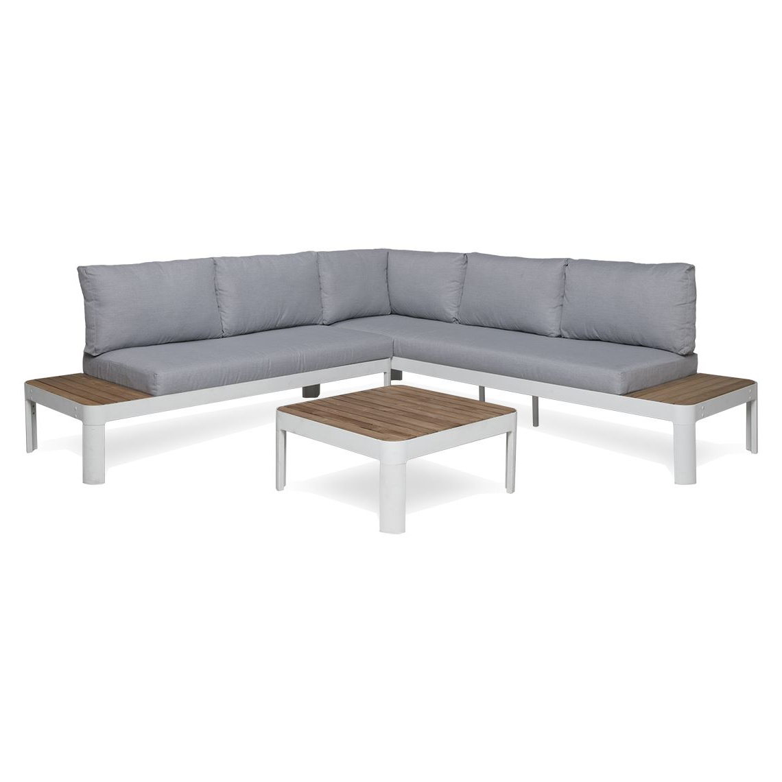 Adelphi 3 Piece Aluminium Outdoor Lounge Set, White Regarding Well Known Olinda 4 Piece Teak Sectionals Seating Group With Cushions (View 20 of 25)