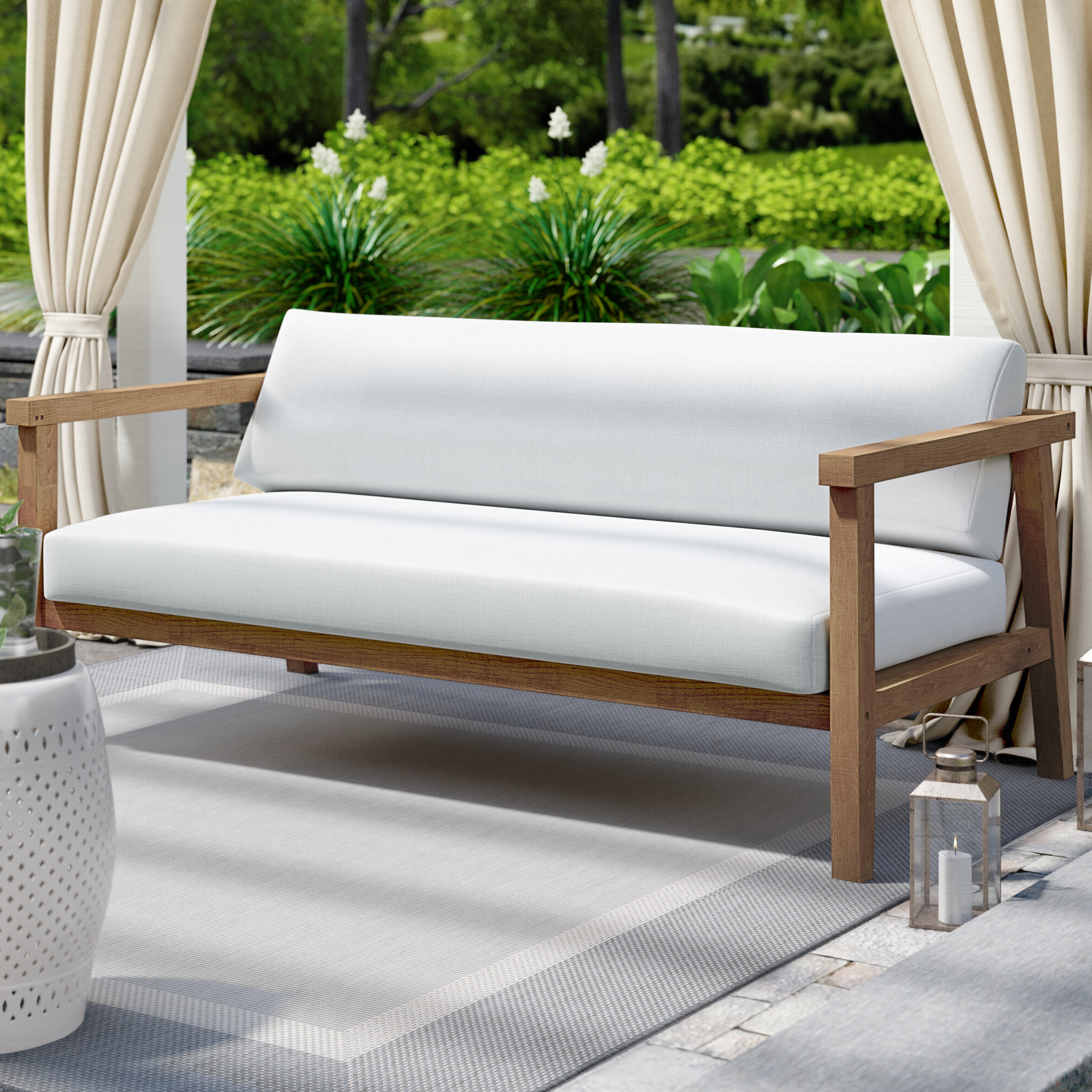 Annalese Outdoor Teak Loveseat With Cushions Pertaining To Latest Jamilla Teak Patio Sofas With Cushion (View 3 of 25)