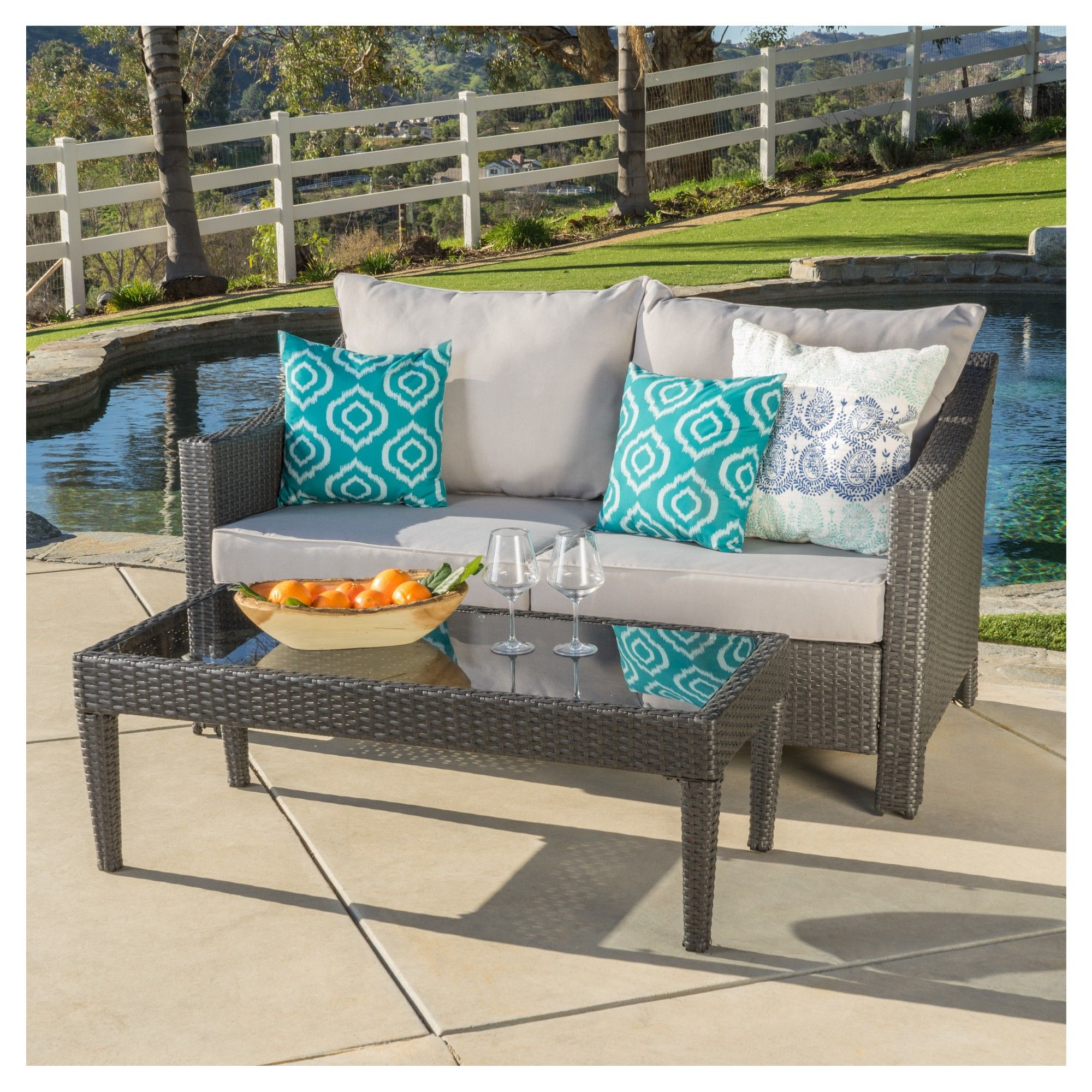 Antibes 2pc Wicker Loveseat And Table – Silver – Christopher For Famous Furst Outdoor Loveseats With Cushions (View 24 of 25)