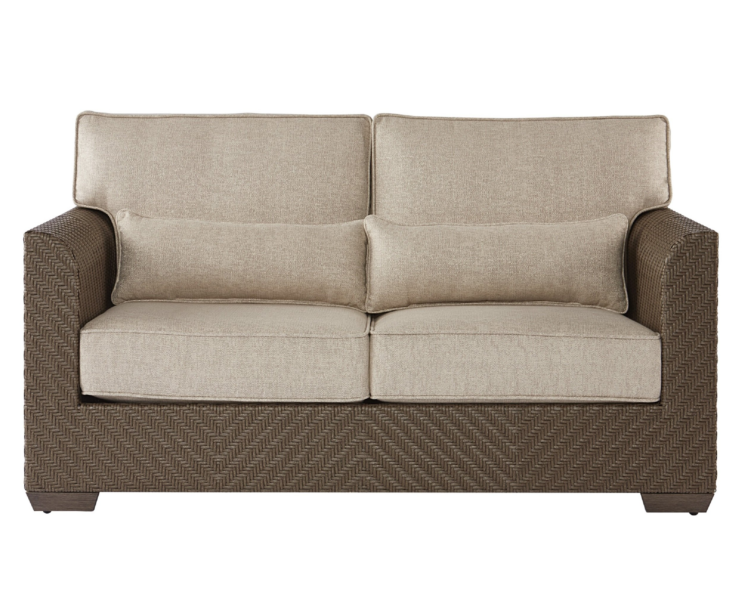 Astrid Wicker Patio Loveseat With Cushions Within Preferred Astrid Wicker Patio Sofas With Cushions (View 2 of 25)
