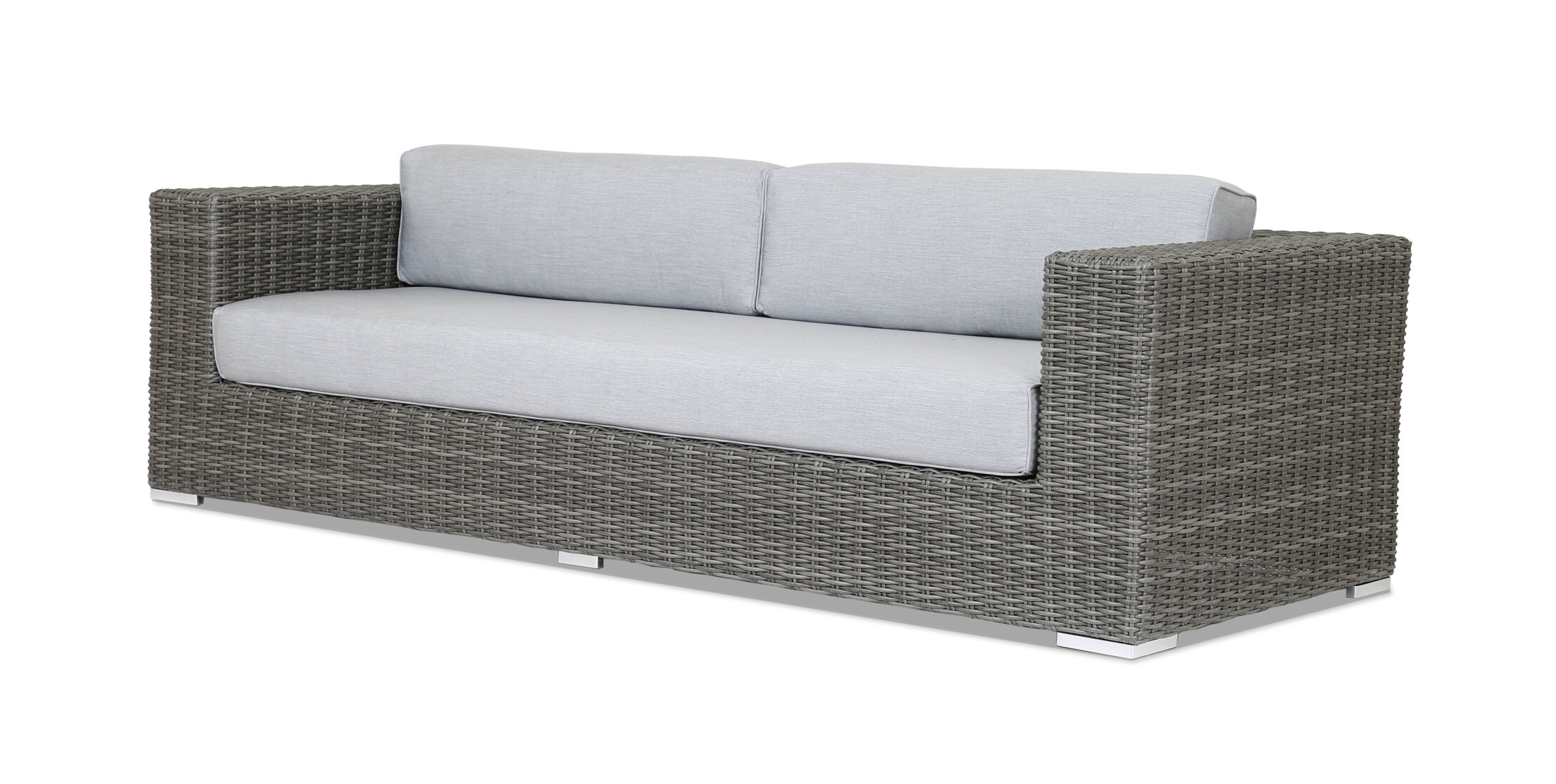 Astrid Wicker Patio Sofas With Cushions Throughout Best And Newest Emerald Ii Patio Sofa With Sunbrella Cushion (View 14 of 25)