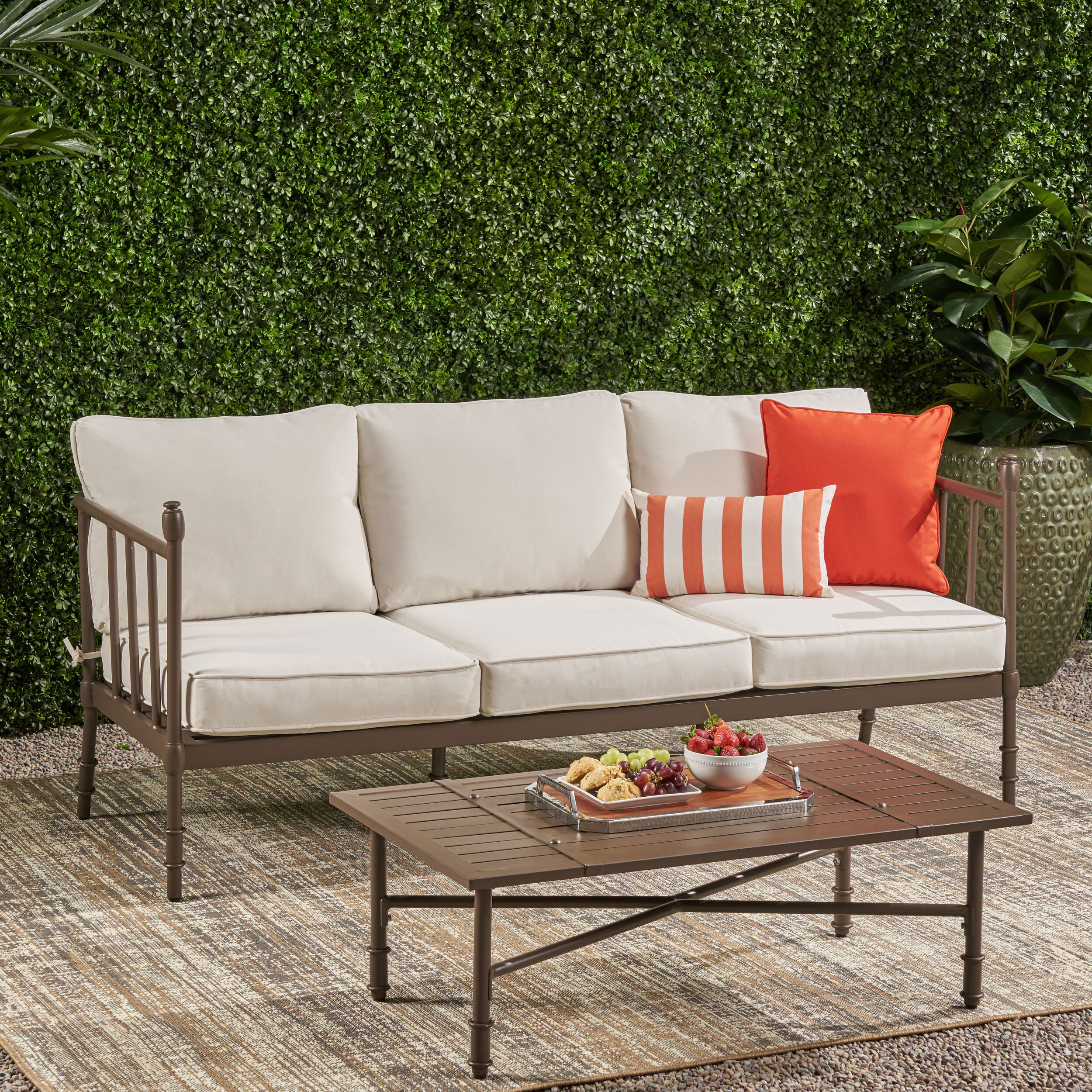 Astrid Wicker Patio Sofas With Cushions With Fashionable Joule Outdoor Aluminum Patio Sofa With Cushions (View 7 of 25)