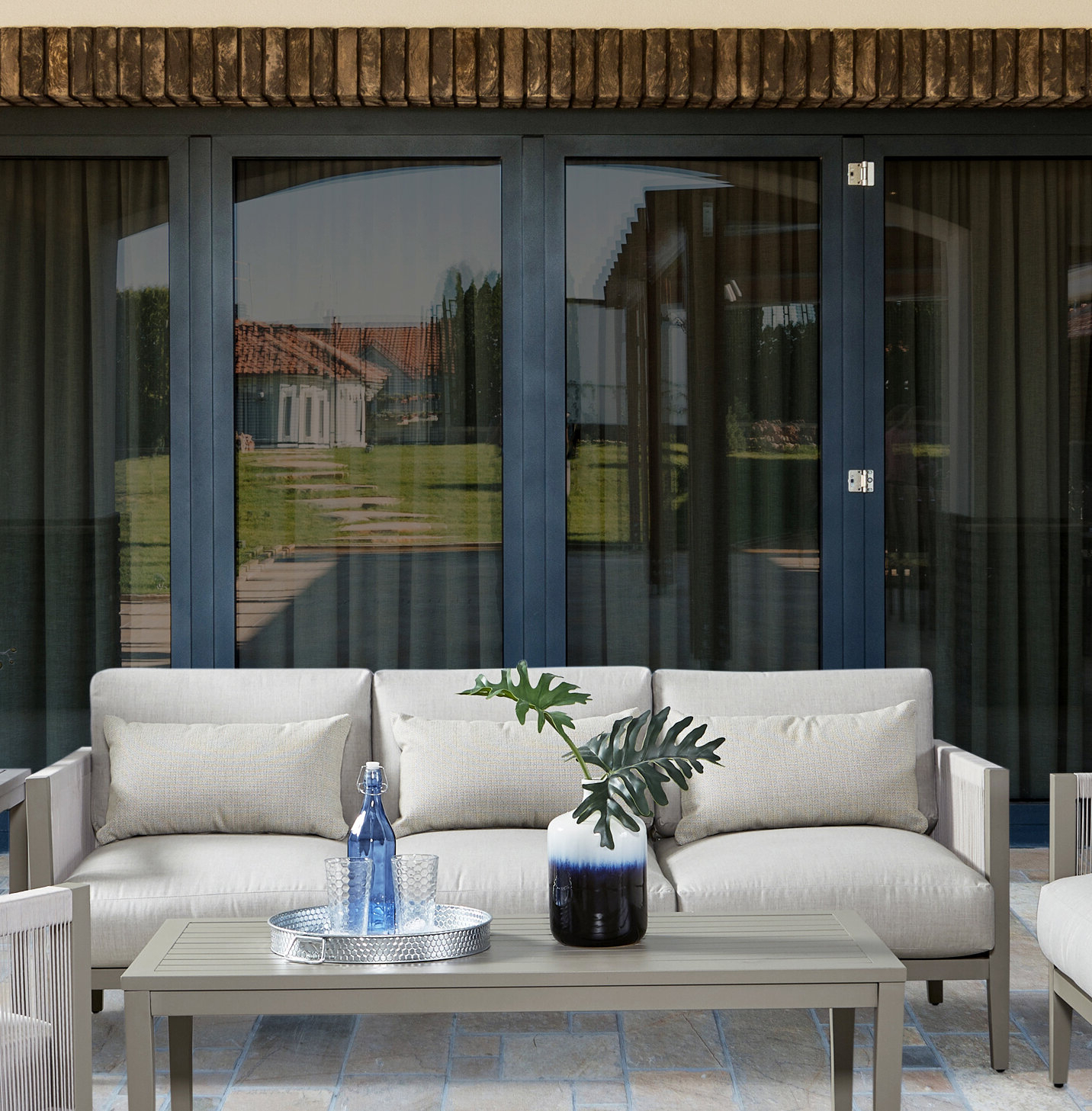 Baca Patio Sofas With Cushions Pertaining To Latest Kari Patio Sofa With Cushion (View 4 of 25)
