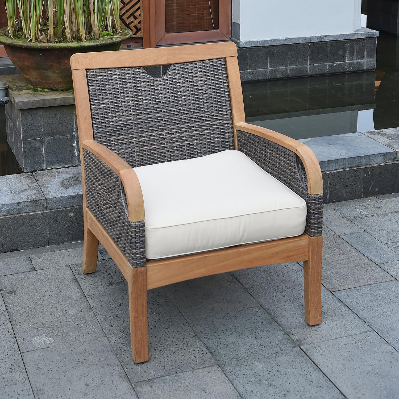 Bayou Breeze Mansfield Teak Patio Chair With Cushions Inside Famous Kincaid Teak Patio Sofas With Sunbrella Cushions (View 7 of 25)