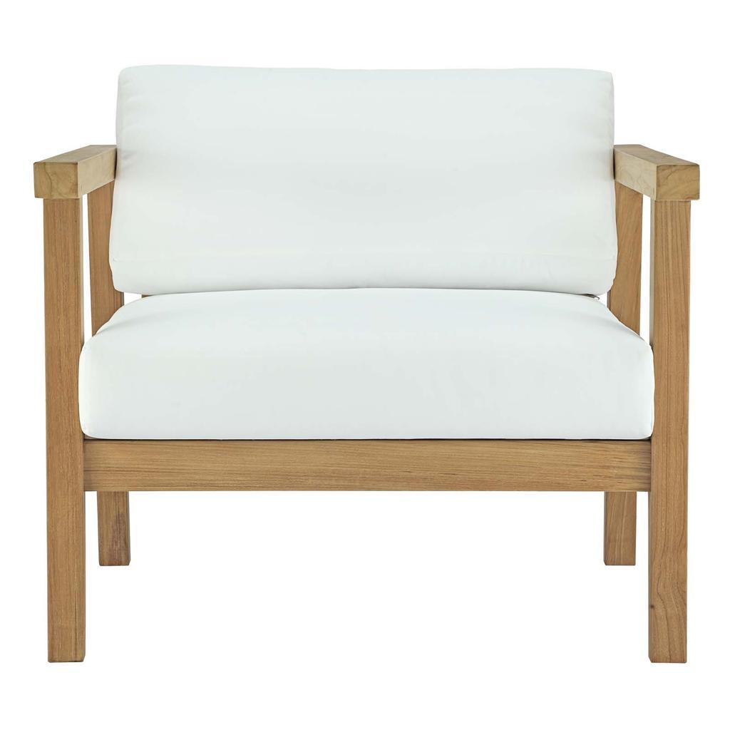 Bayport Outdoor Patio Teak Wood Armchair – Natural White Regarding Most Recent Jamilla Teak Patio Sofas With Cushion (Gallery 15 of 25)