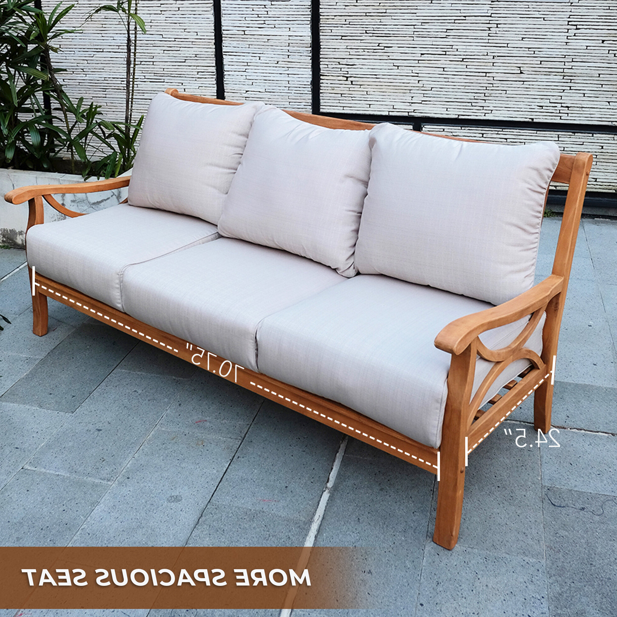 Featured Photo of Brunswick Teak Patio Sofas with Cushions