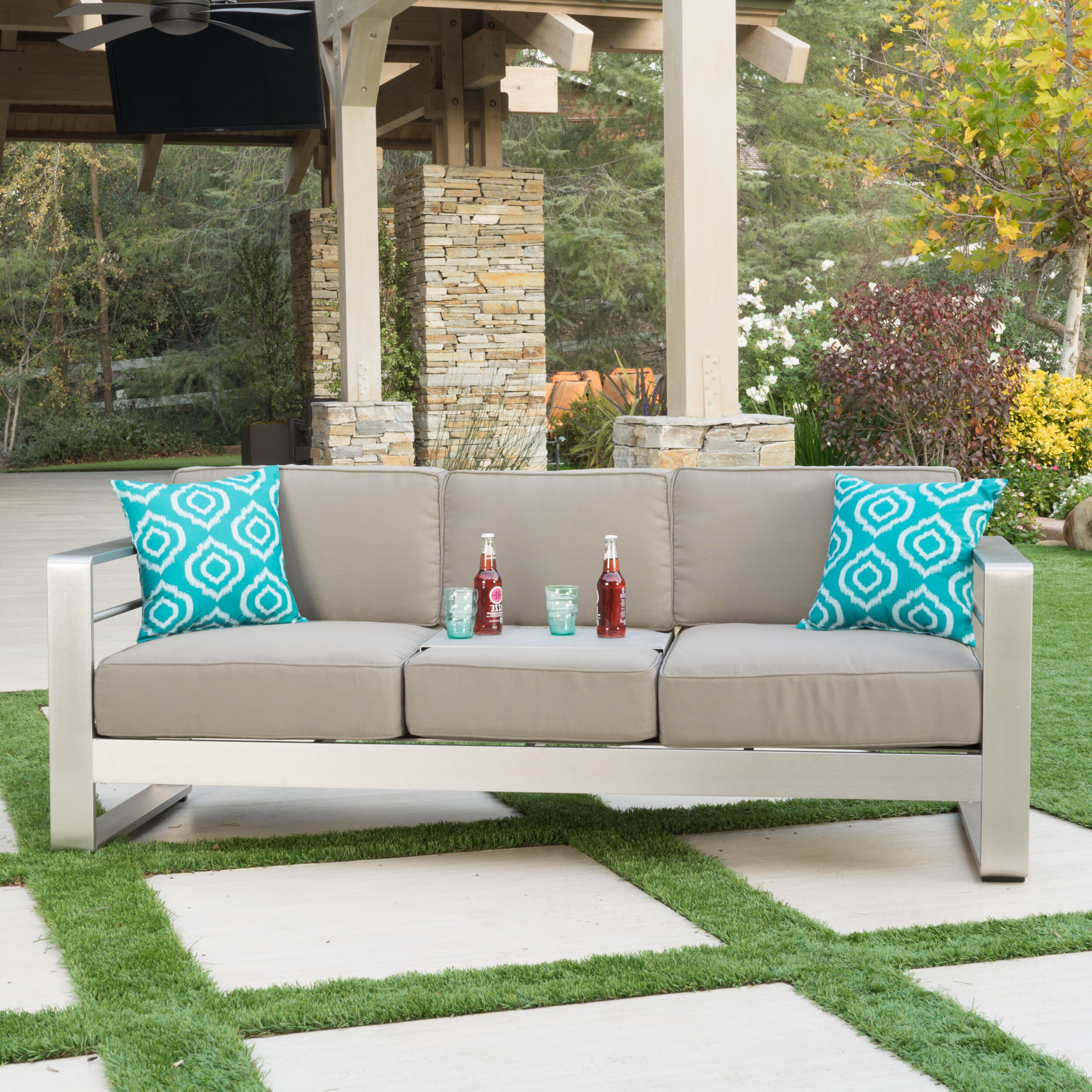 Best And Newest Menifee Patio Sofas With Cushions Intended For Royalston Patio Sofa With Cushions (View 23 of 25)
