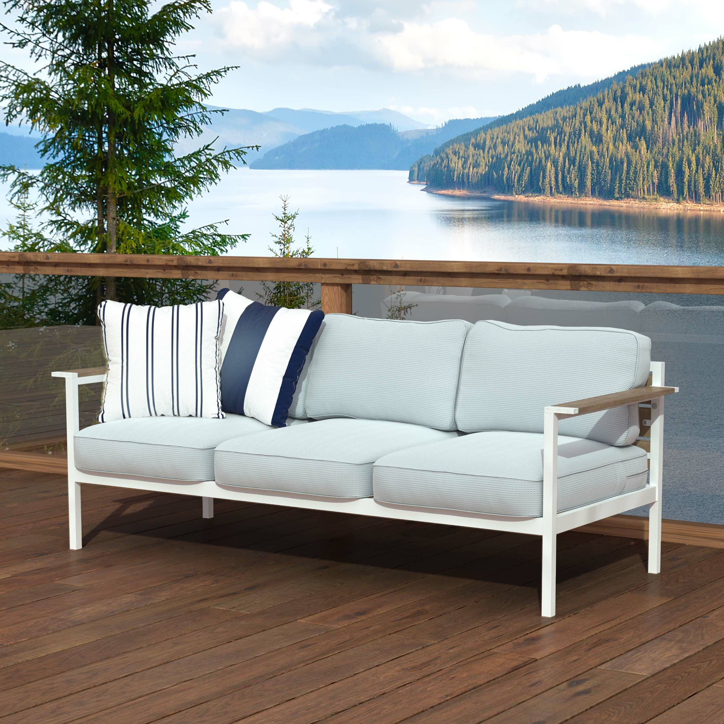 Best And Newest O'kean Teak Patio Sofas With Cushions With Regard To Kayser Patio Sofa With Cushions (View 6 of 25)