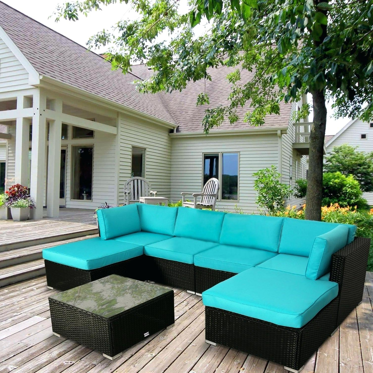 Best And Newest Outdoor Patio Sectional 9 Piece Sofa Set In Brown Mocha With Ostrowski Patio Sectionals With Cushions (Gallery 12 of 25)