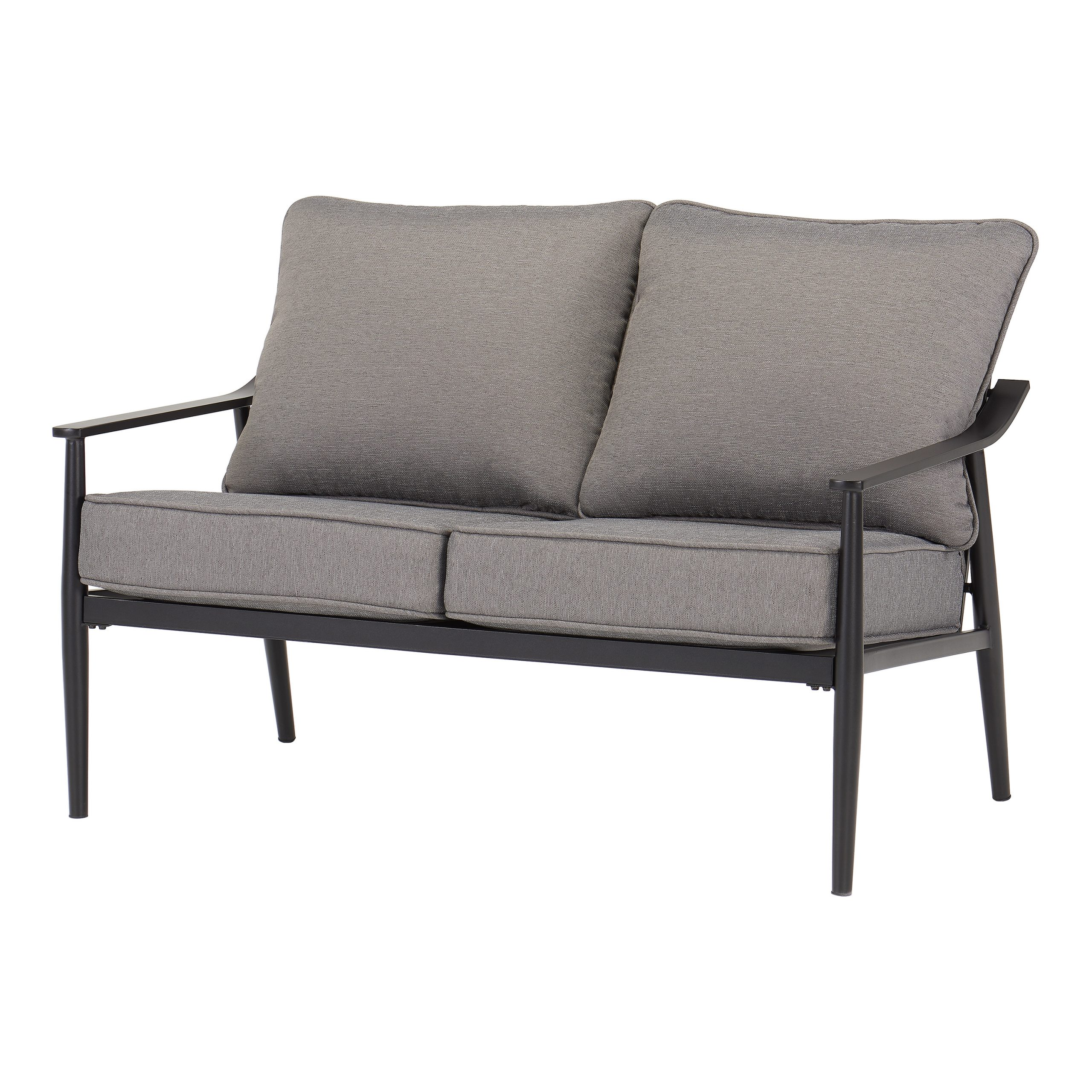 Better Homes & Gardens Acadia 2 Piece Patio Loveseat Set With Gray Cushions – Walmart Pertaining To Trendy Dayse Contemporary Loveseats With Cushion (View 20 of 25)