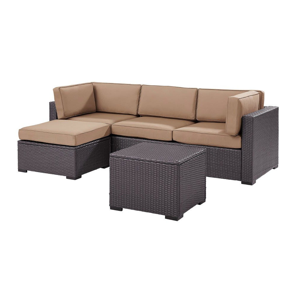Biscayne 4pc All Weather Wicker Seating Set – Mocha With Newest Furst Outdoor Loveseats With Cushions (View 20 of 25)