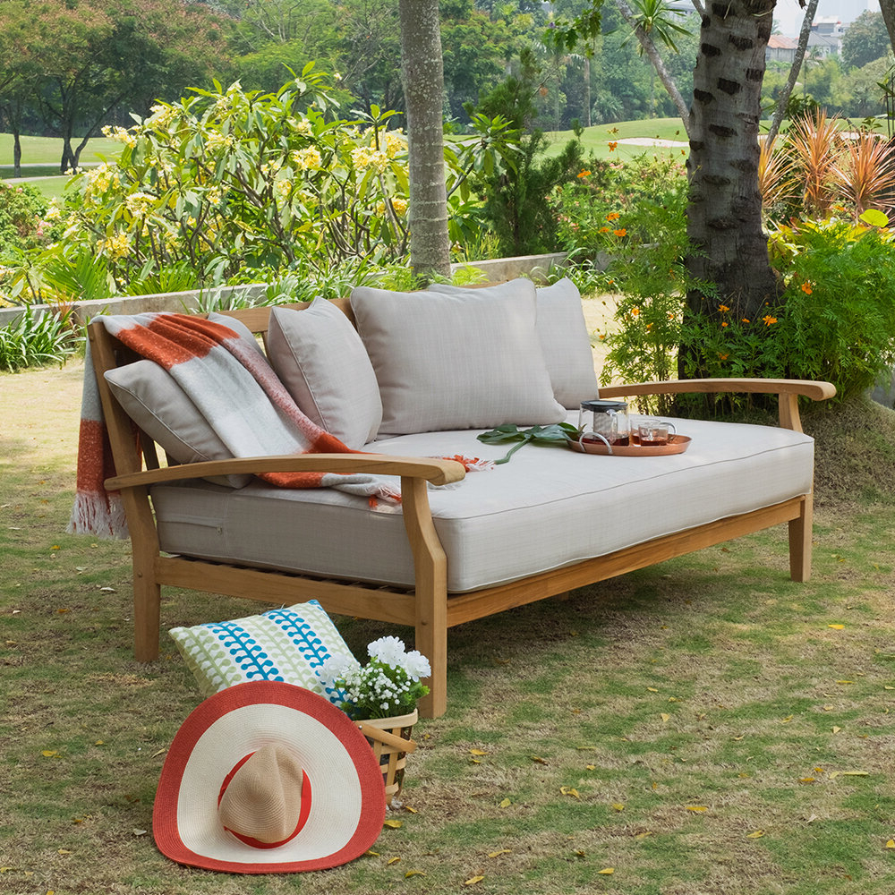 Bodine Patio Daybeds With Cushions Inside Fashionable Summerton Teak Patio Daybed With Cushion (View 19 of 25)