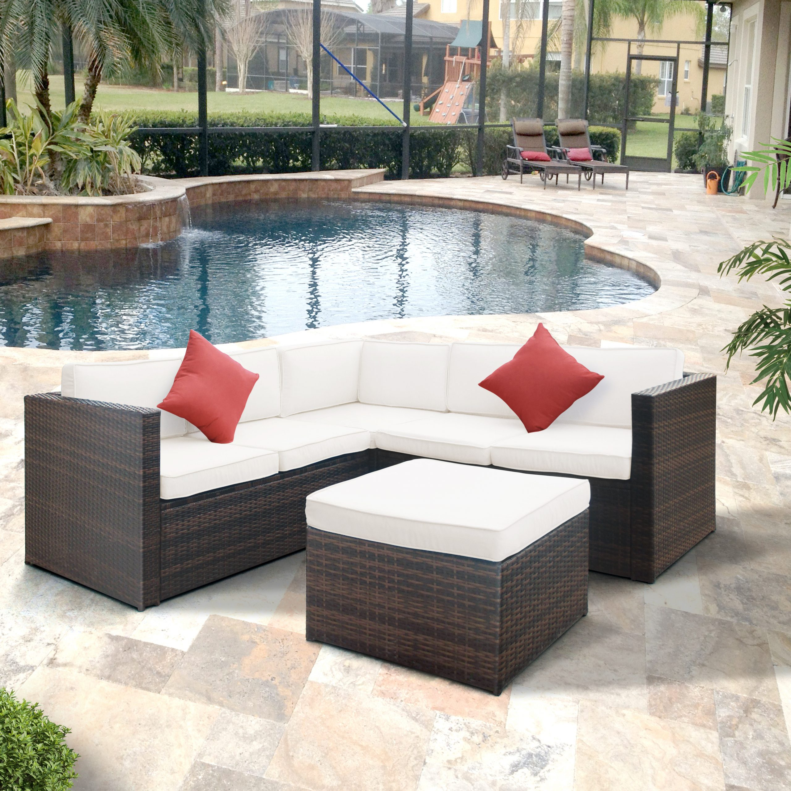 Boyce Outdoor Patio Sectionals With Cushions Regarding Most Up To Date Highland Dunes Lilith Patio Sectional With Cushions (Gallery 8 of 25)