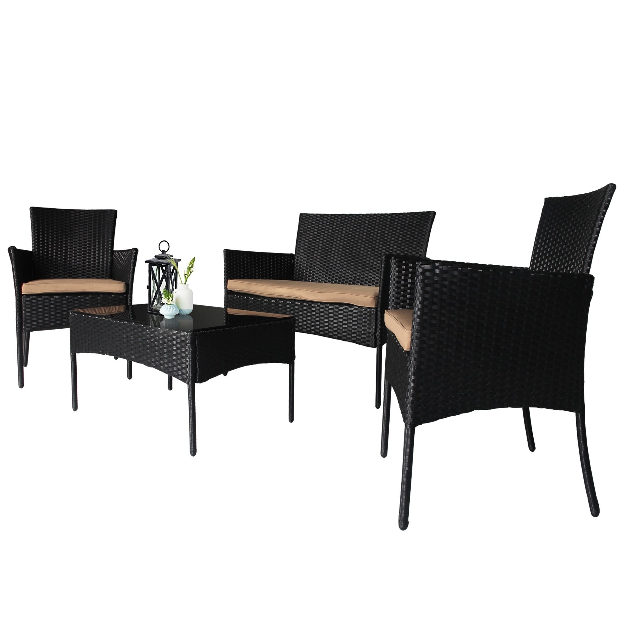 Boyce Outdoor Patio Sectionals With Cushions Within 2019 Boyce 4 Piece Wicker Rattan Conversation Set (Gallery 12 of 25)
