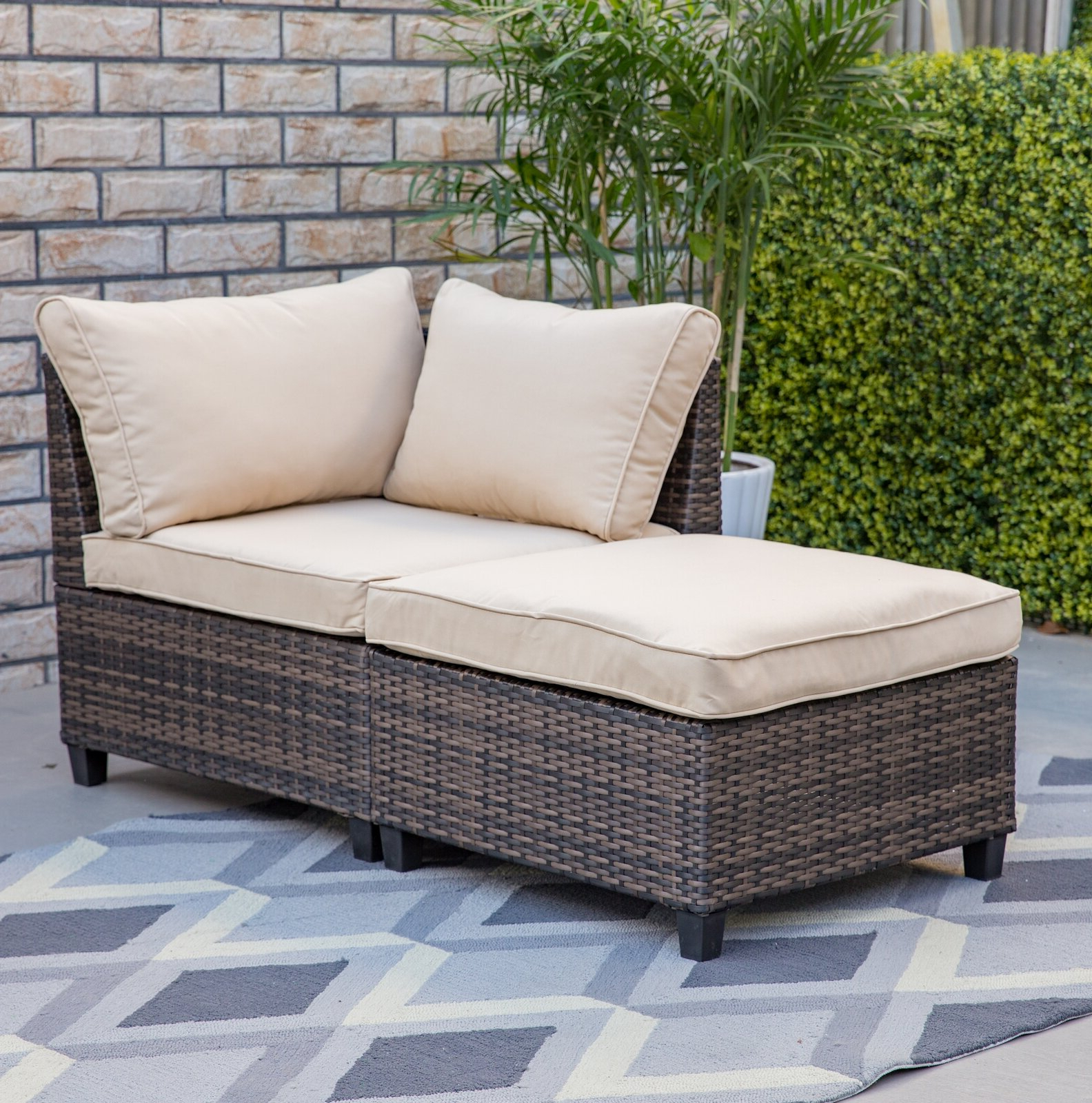 Boyce Outdoor Patio Sectionals With Cushions Within Most Recently Released Bafford 2 Piece Corner Chair And Ottoman (View 17 of 25)