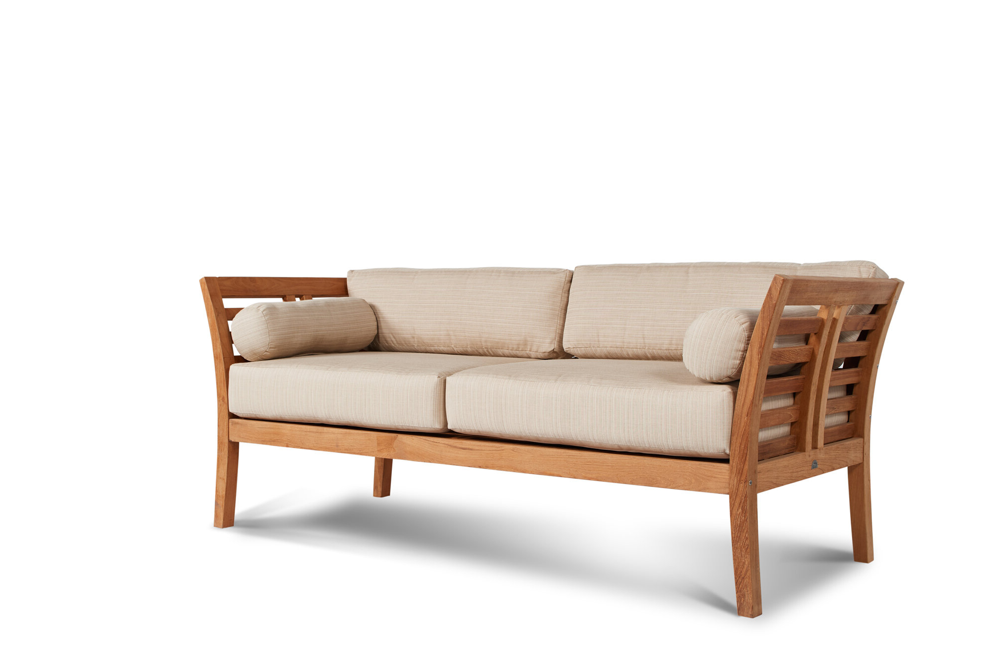 Brecht Patio Sectionals With Cushions In Most Up To Date Fleischer Teak Patio Sofa With Sunbrella Cushions (View 12 of 25)