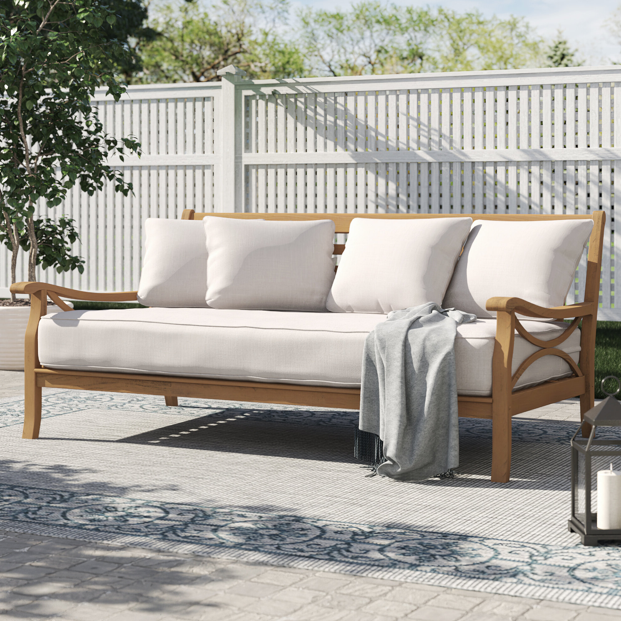 Brunswick Teak Patio Daybed With Cushions Intended For Fashionable Dowling Patio Daybeds With Cushion (View 18 of 25)