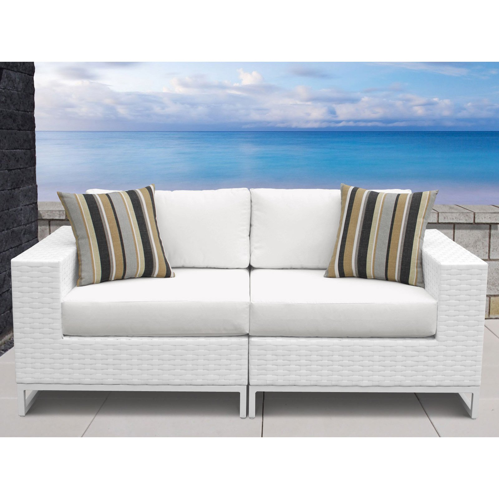 Burruss Patio Sectionals With Cushions Inside Well Liked Outdoor Tk Classics Miami Wicker 2 Piece Patio Sectional (View 25 of 25)