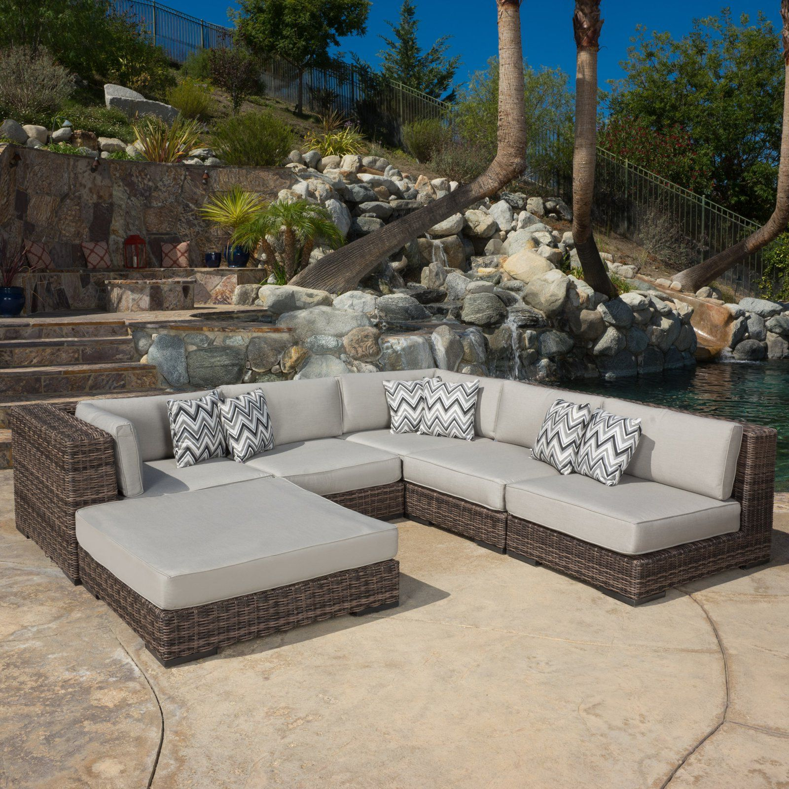 Burruss Patio Sectionals With Cushions Within Newest Outdoor Prestley 6 Piece Sectional Sofa Set With Sunbrella (View 21 of 25)