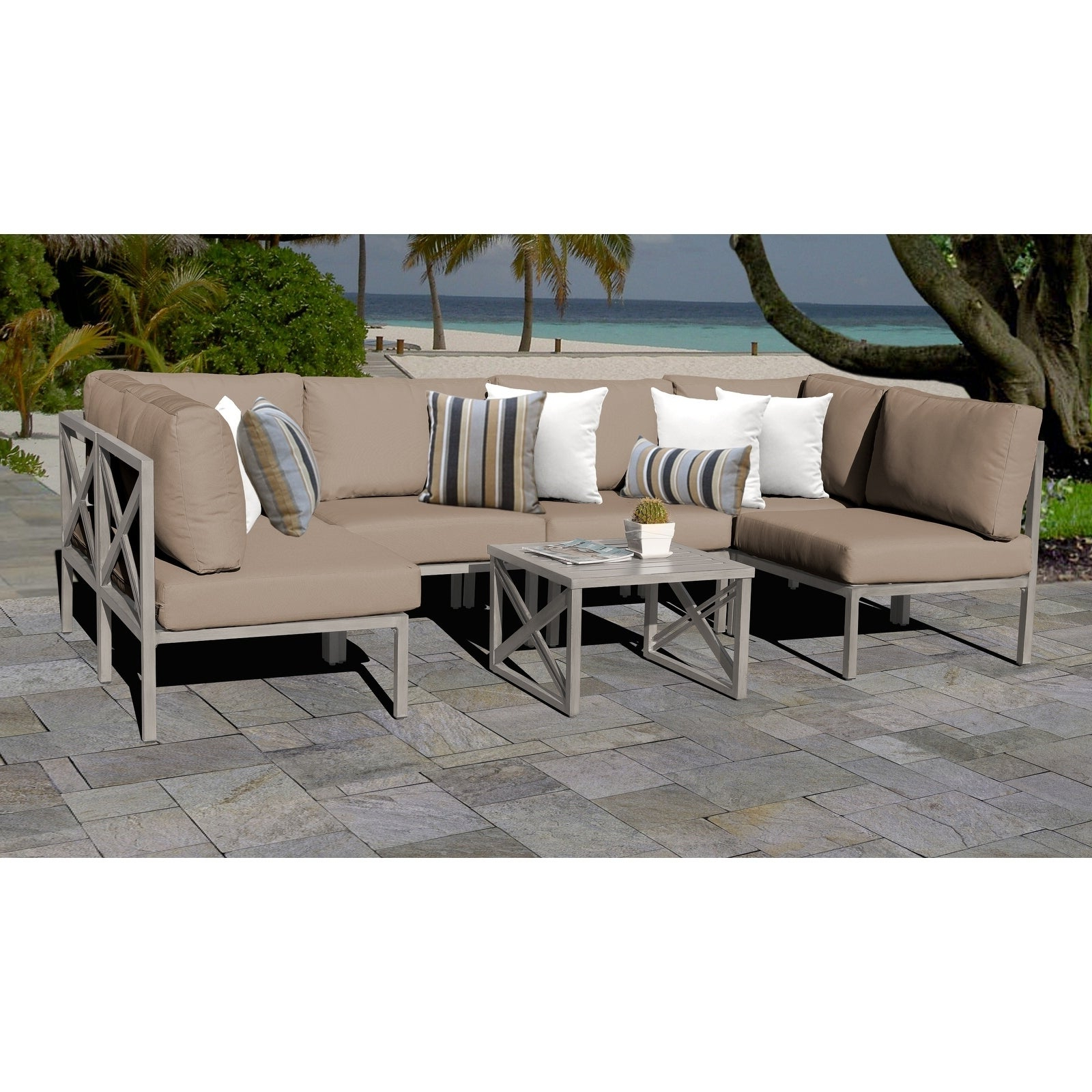 Carlisle 7 Piece Outdoor Wicker Patio Furniture Set 07A With Regard To Most Popular Carlisle Patio Sofas With Cushions (View 4 of 25)