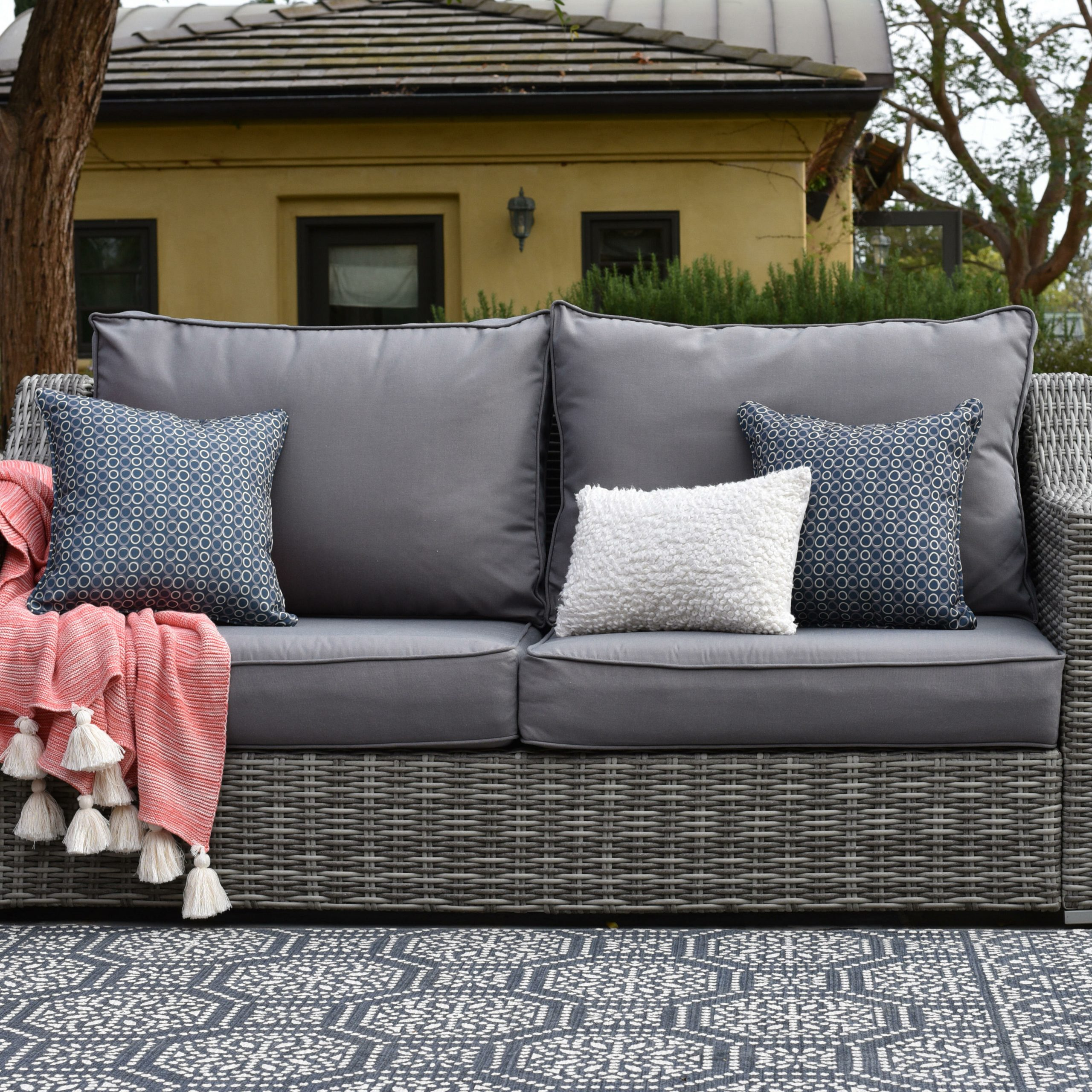 Carlisle Patio Sofas With Cushions Intended For Recent Vallauris Patio Sofa With Cushions (View 7 of 25)