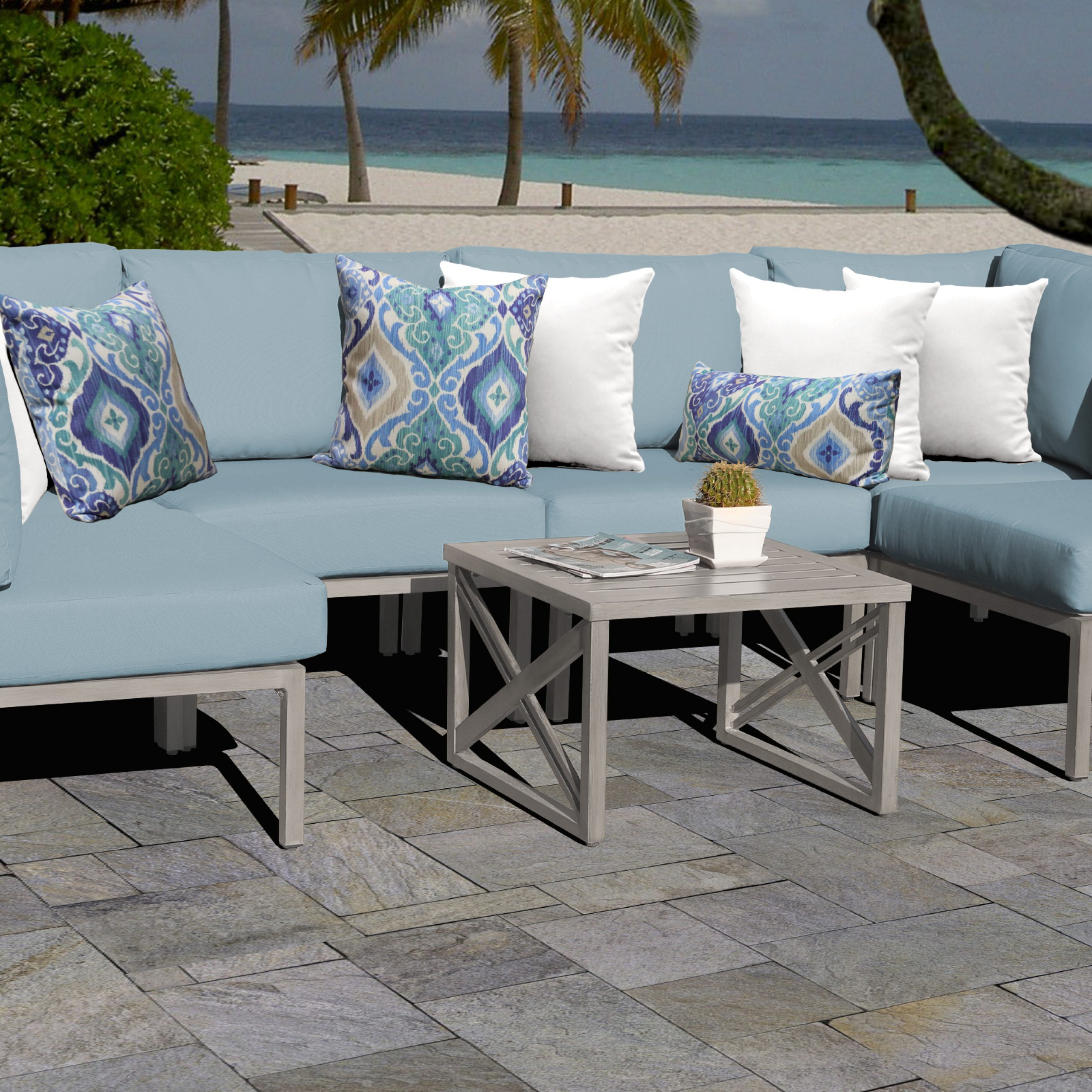 Carlisle Patio Sofas With Cushions With Regard To Most Popular Carlisle 7 Piece Outdoor Aluminum Patio Furniture Set 07A (View 10 of 25)