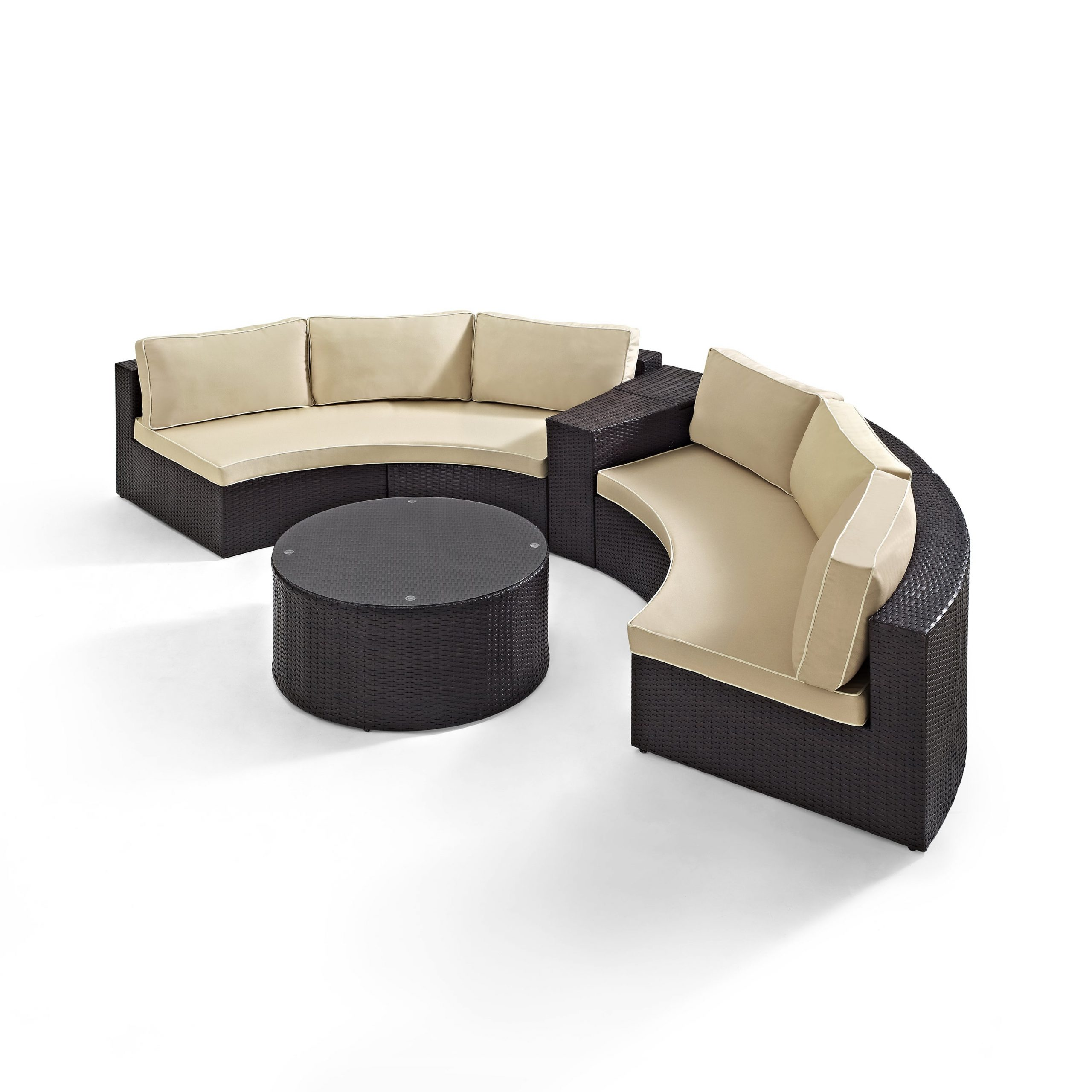 Catalina 4 Piece Outdoor Wicker Seating Set With Sand Cushions Two Round Sectional Sofas,arm Table,and Glass Top Coffee Table With Regard To Favorite Catalina Outdoor Right Arm Sectional Pieces With Cushions (View 4 of 25)