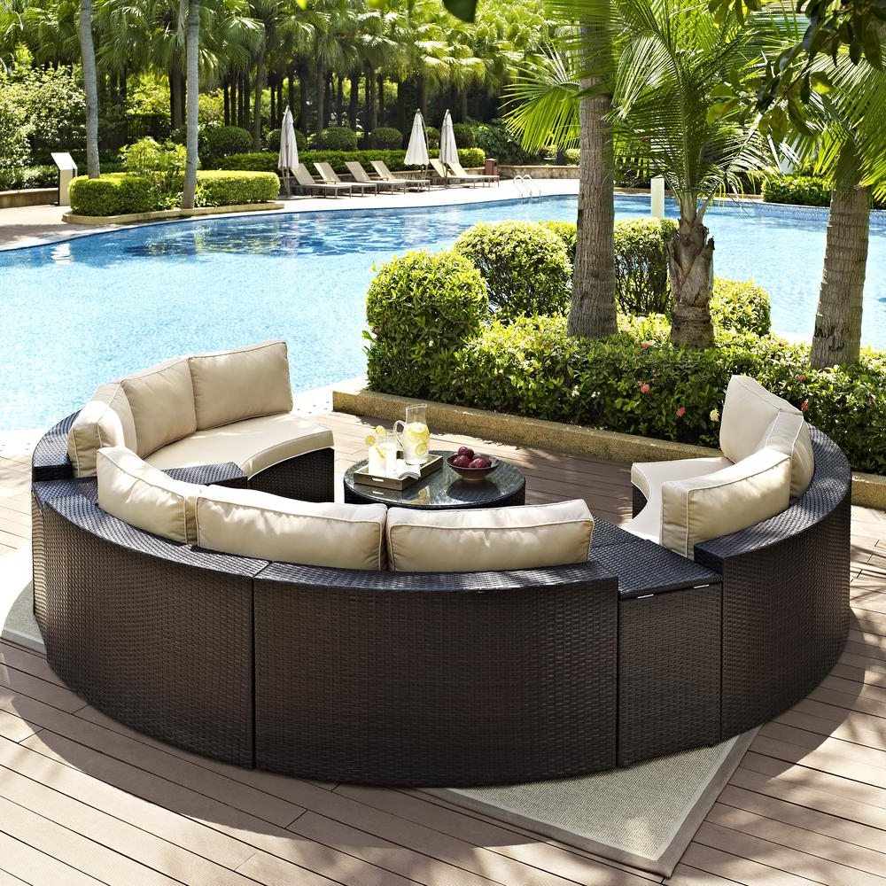Catalina Outdoor Right Arm Sectional Pieces With Cushions For Famous Catalina 6pc Outdoor Wicker Sectional Set Sand/brown – 3 Round Sectional Sofas, 2 Arm Tables, And Round Glass Top Coffee Tablecrosley (View 20 of 25)