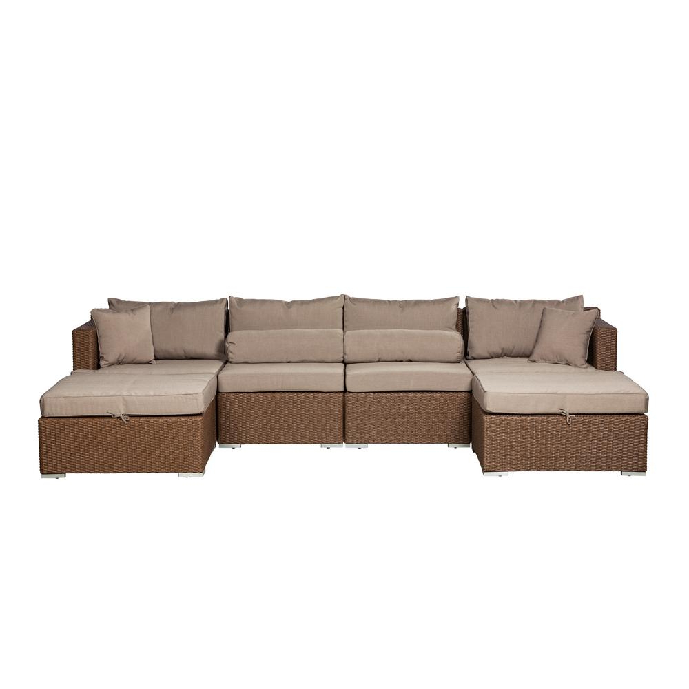 Catalina Outdoor Right Arm Sectional Pieces With Cushions For Latest Patio Sense Teagarden Mocha 4 Piece Wicker Outdoor Sectional With Taupe Cushions (View 8 of 25)