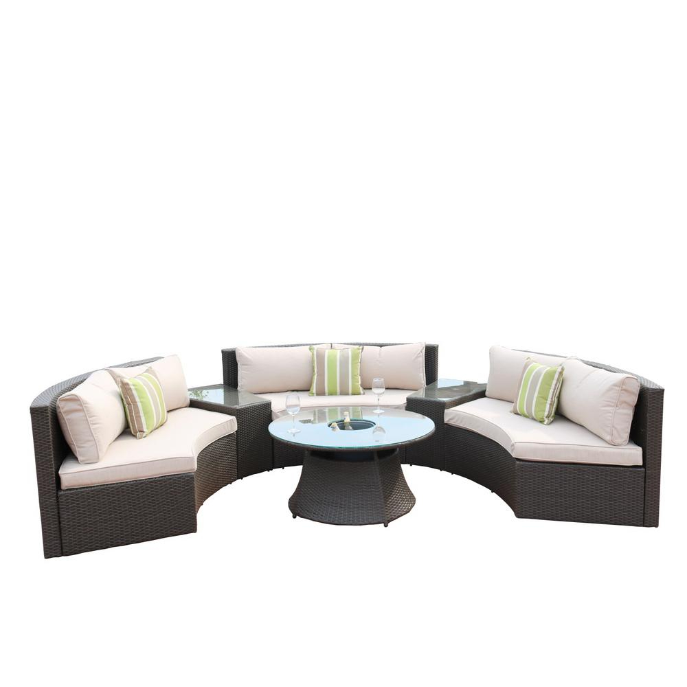 Catalina Outdoor Right Arm Sectional Pieces With Cushions In Current Direct Wicker 6 Piece Half Moon Black Wicker Outdoor Sectional Set With Beige Cushions (View 5 of 25)