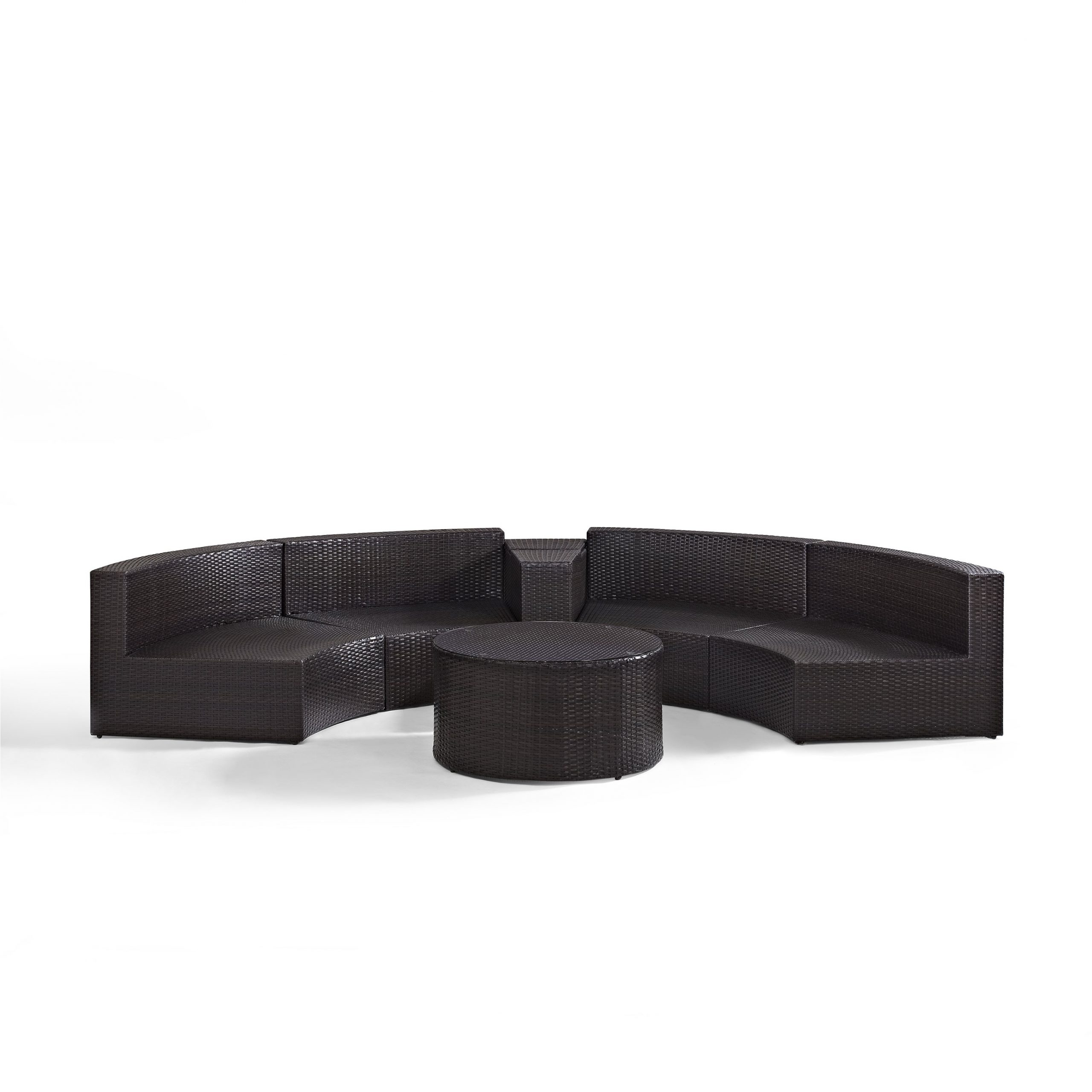 Catalina Outdoor Right Arm Sectional Pieces With Cushions In Fashionable Catalina 4 Piece Outdoor Wicker Seating Set With Sand Cushions Two Round Sectional Sofas,arm Table,and Glass Top Coffee Table (View 17 of 25)