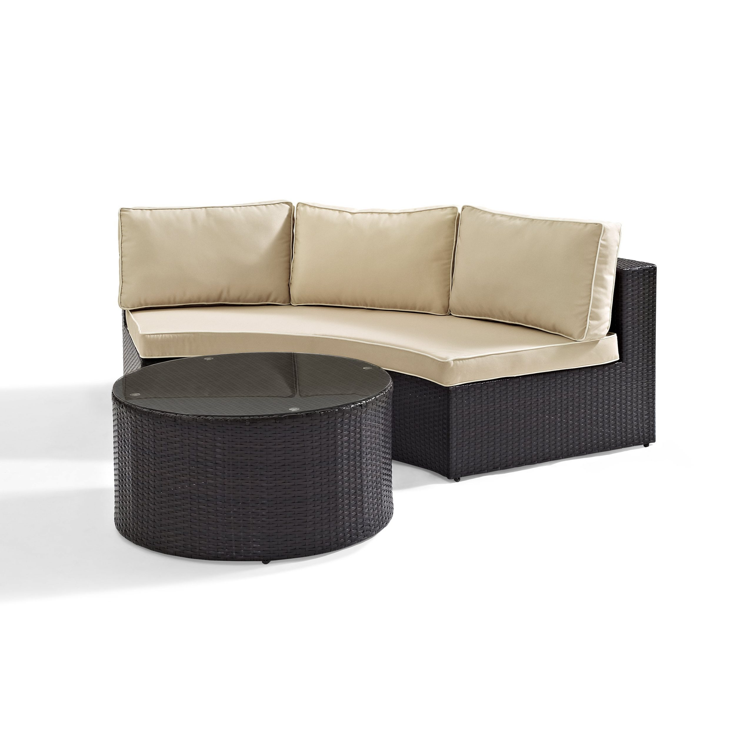 Catalina Outdoor Right Arm Sectional Pieces With Cushions Inside Trendy Catalina 2 Piece Outdoor Wicker Seating Set With Sand Cushions – Round Sectional Sofa With Round Glass Top Coffee Table (View 6 of 25)